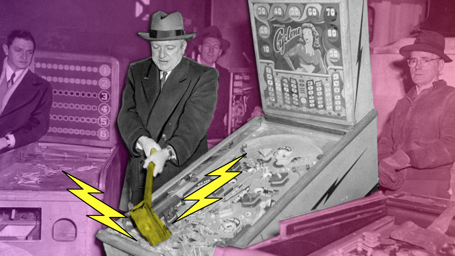 Police commissioner O'Brien smashes a pinball machine with a sledgehammer