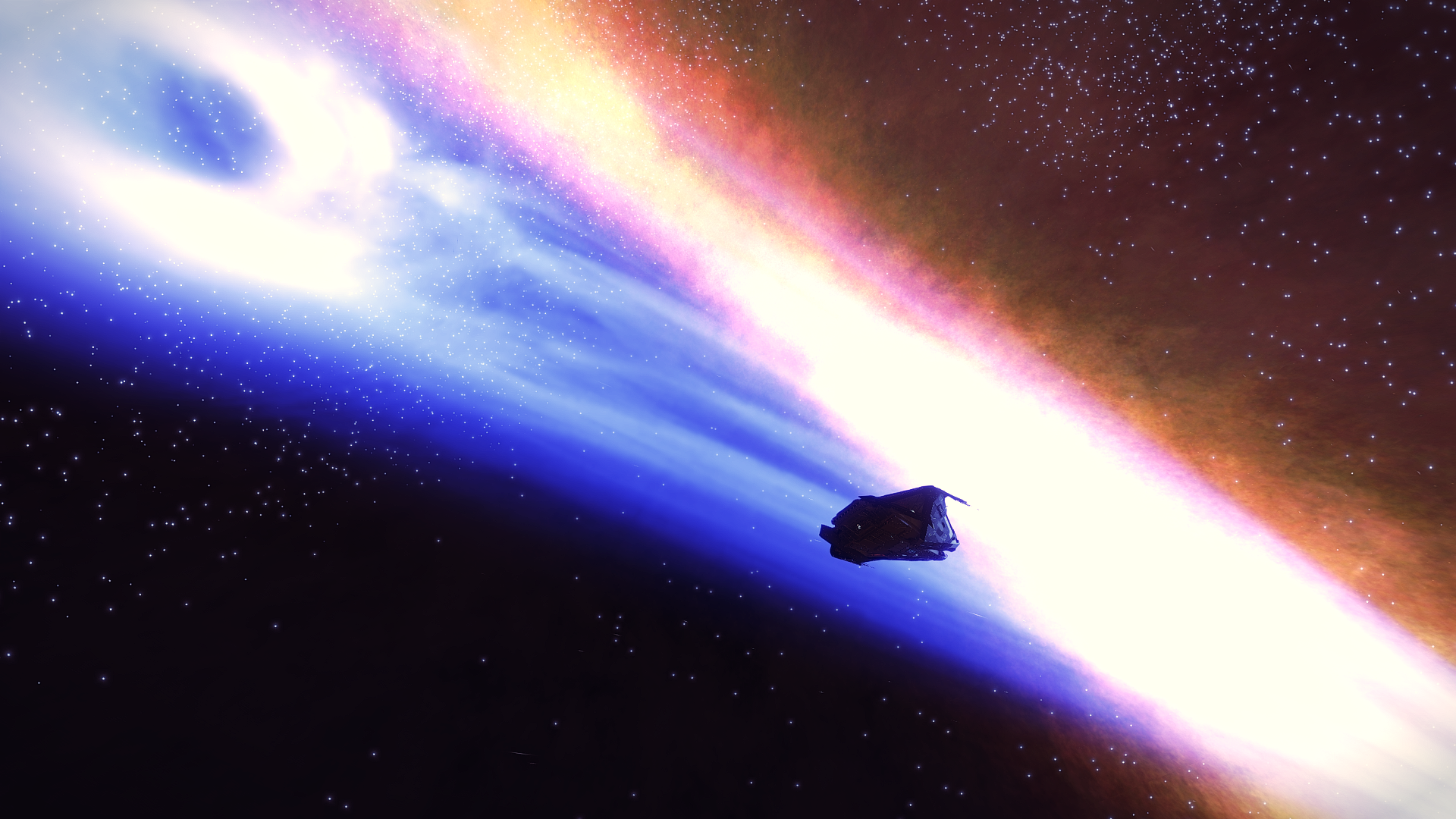 A Krait Phantom backlit by the wildly spinning tail of a neutron star in the Eos Free MP-M d8-294 star system. Elite: Dangerous, Distant Worlds 2 expedition.