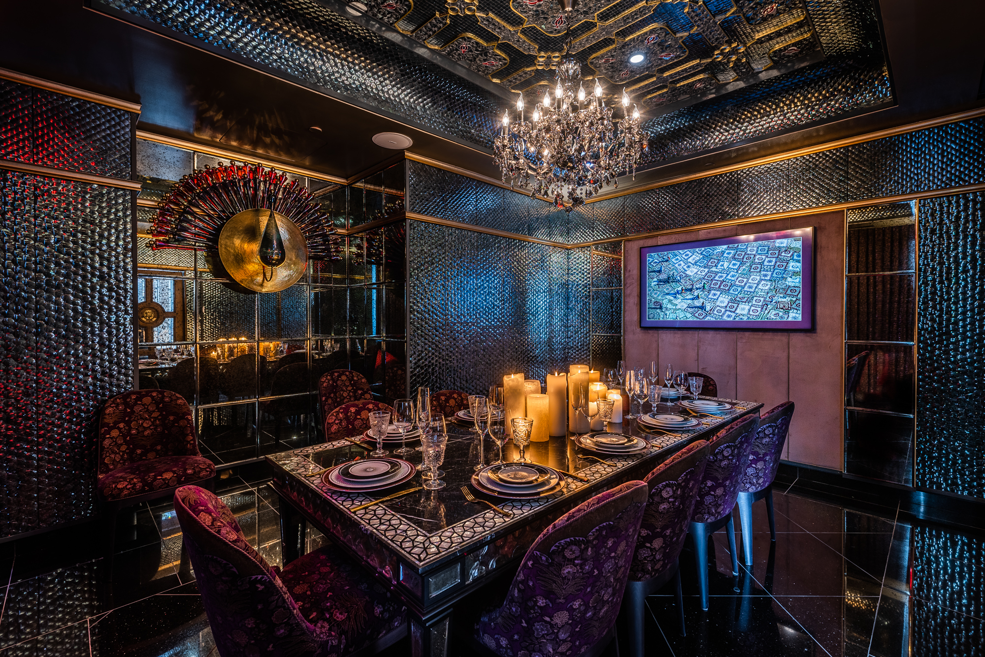 A private dining room at Punjab Grill is covered in 150,000 hand-laid mirrors.