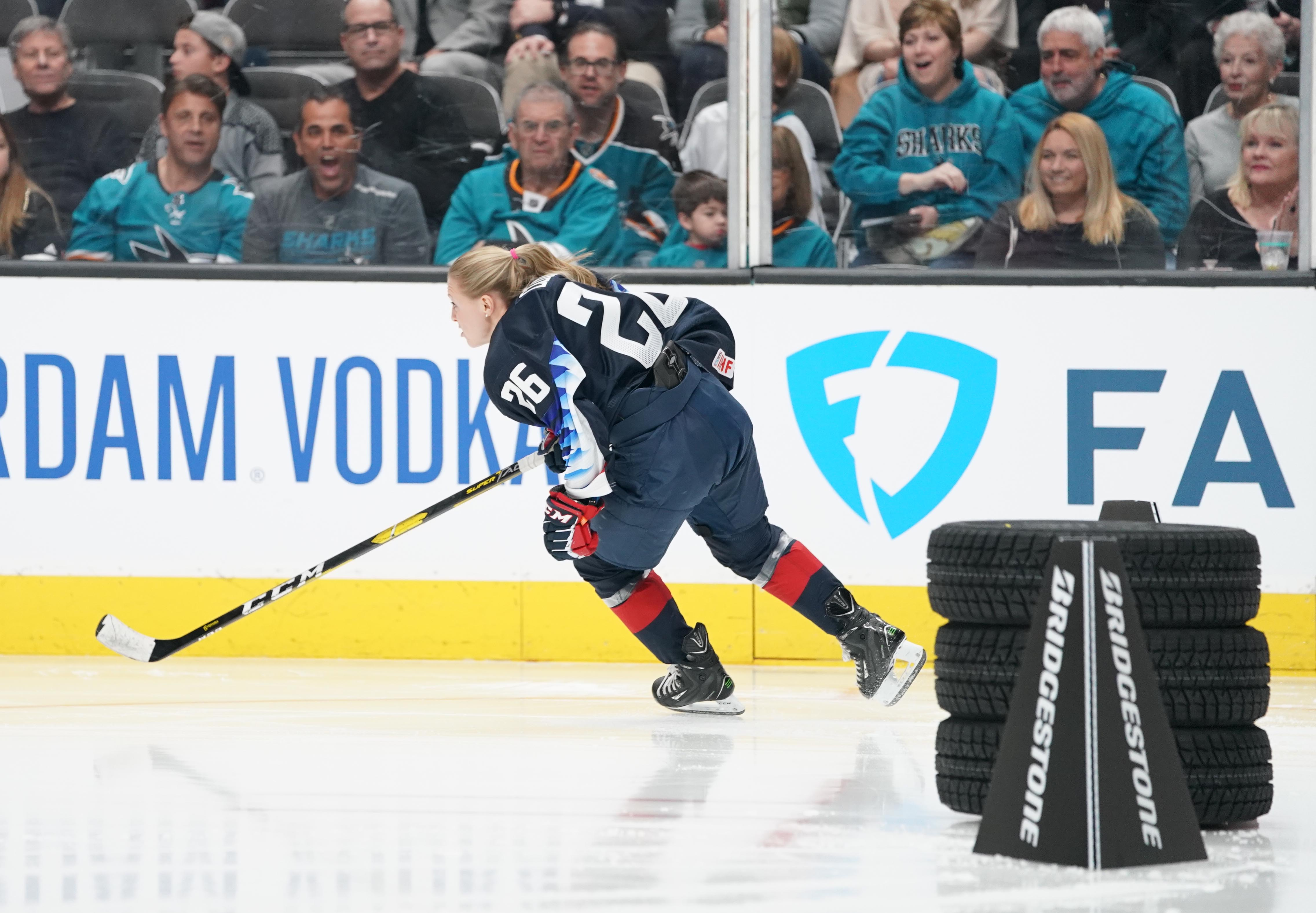 Jan 25, 2019; San Jose, CA, USA; USA women's ice hockey player Kendall Coyne-Schofield in the fastest skater competition in the 2019 NHL All Star Game skills competition at SAP Center. Mandatory Credit: Kyle Terada