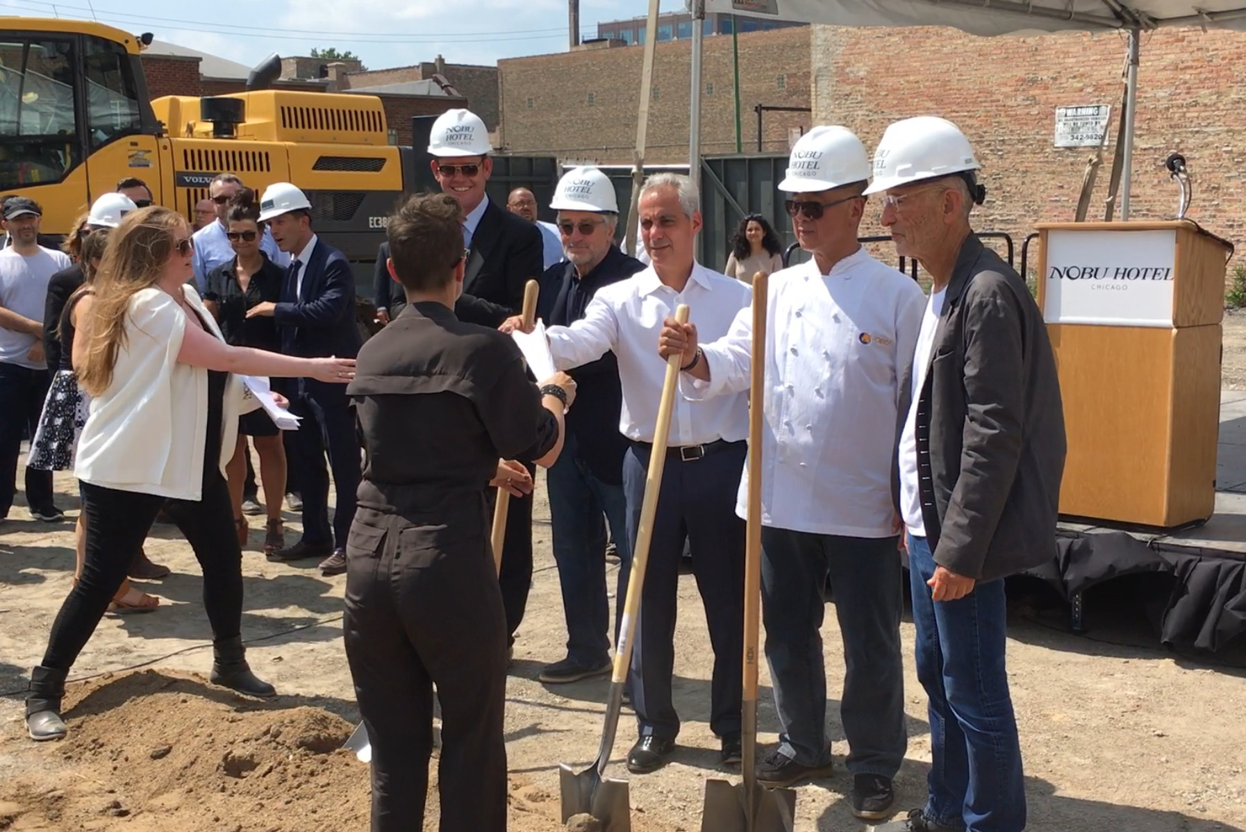 Actor Robert DeNiro, Mayor Rahm Emanuel and chef Nobu Matsuhisa at the groundbreaking.