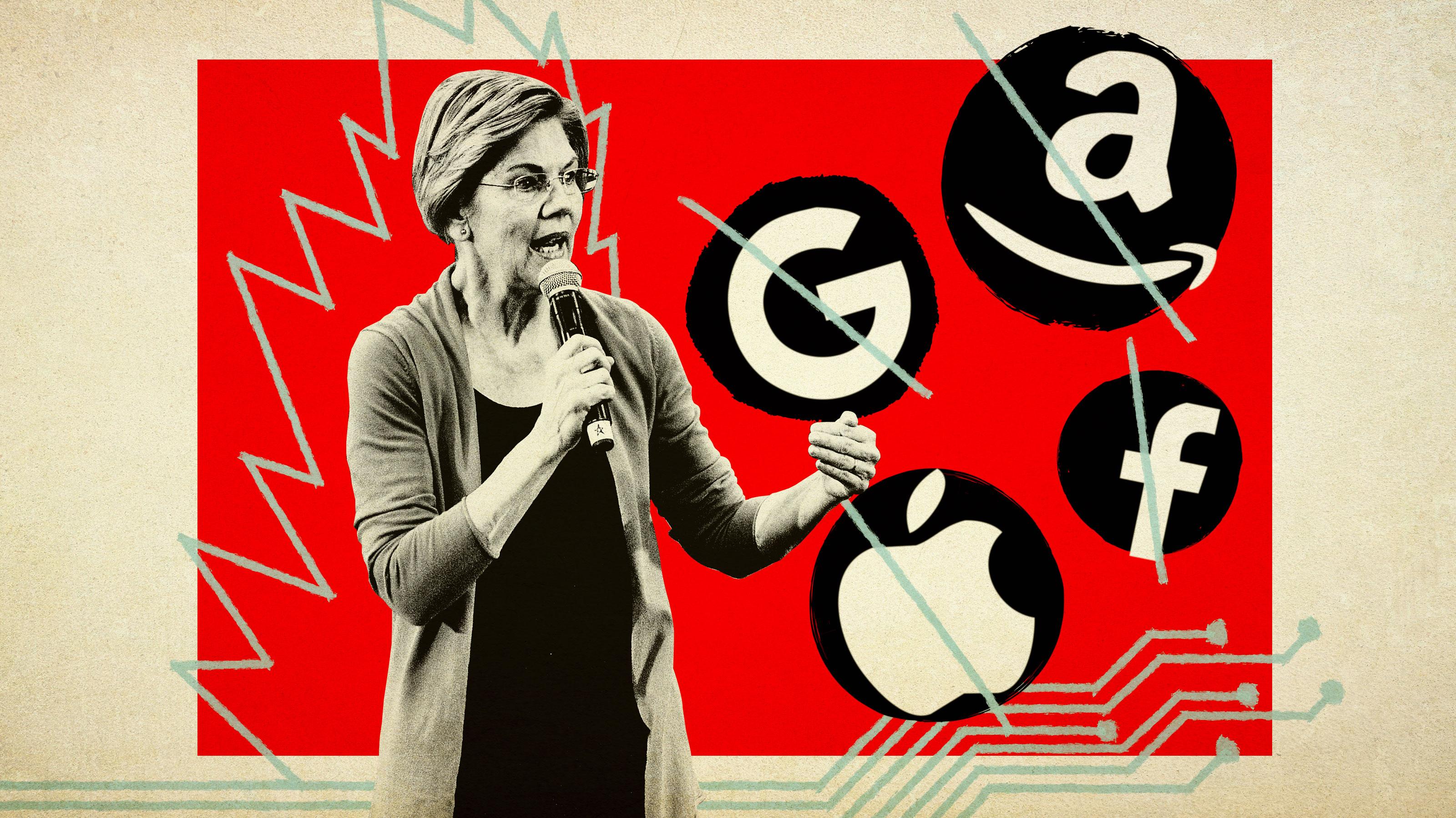 Elizabeth Warren standing in front of Google, Amazon, Apple, and Facebook logos