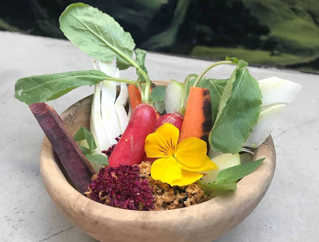 Crudités with miso bagna cauda, one of central London's best snacks
