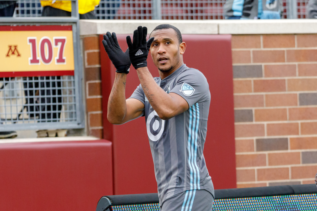 October 13, 2018 - Minneapolis, Minnesota, United States - Minnesota United forward Angelo Rodriguez (9) applauds the fans for their support during the Minnesota United vs Colorado Rapids match at TCF Bank Stadium.   (Photo by Seth Steffenhagen/Steffenhagen Photography)