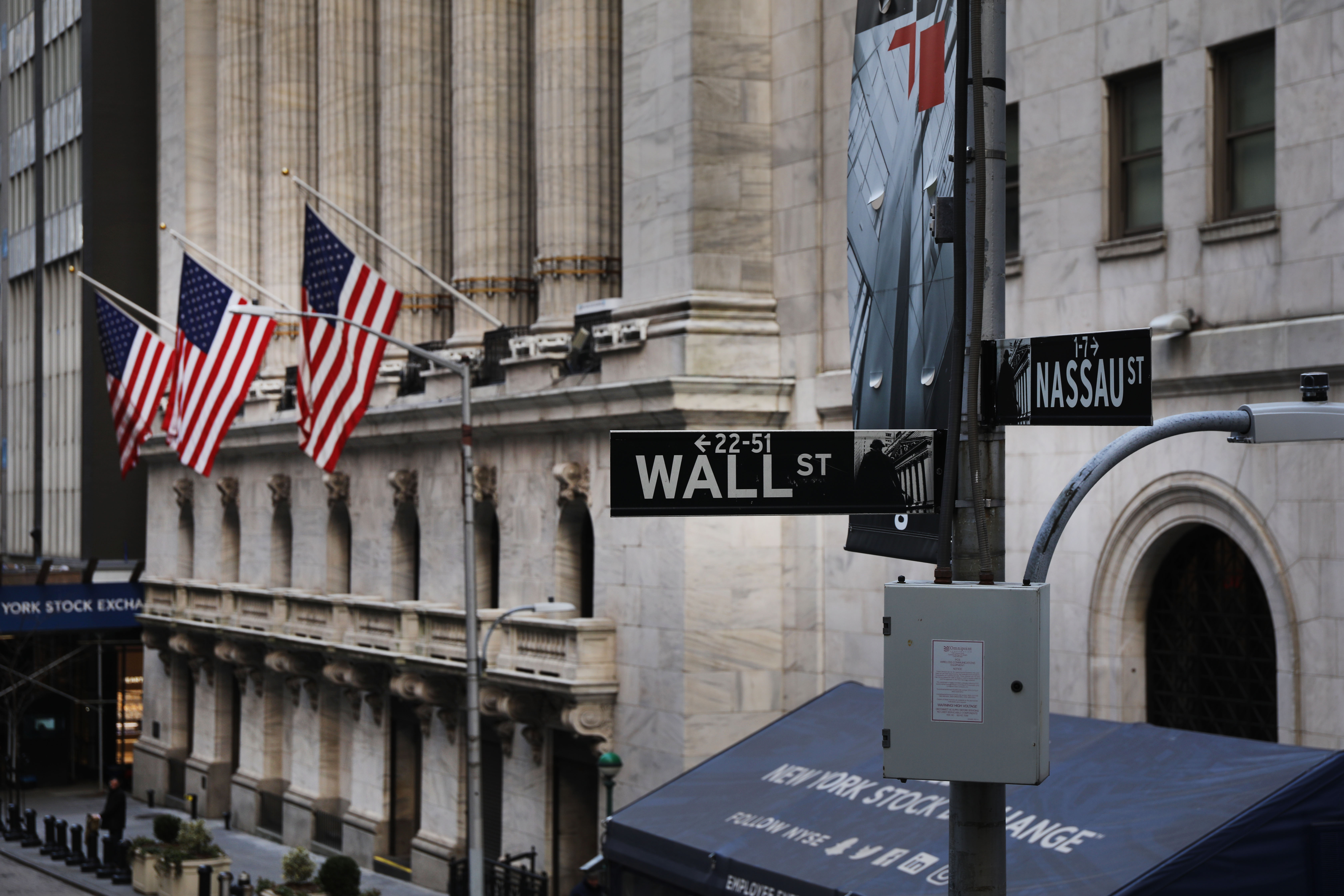 The New York Stock Exchange building on Wall Street in New York City.