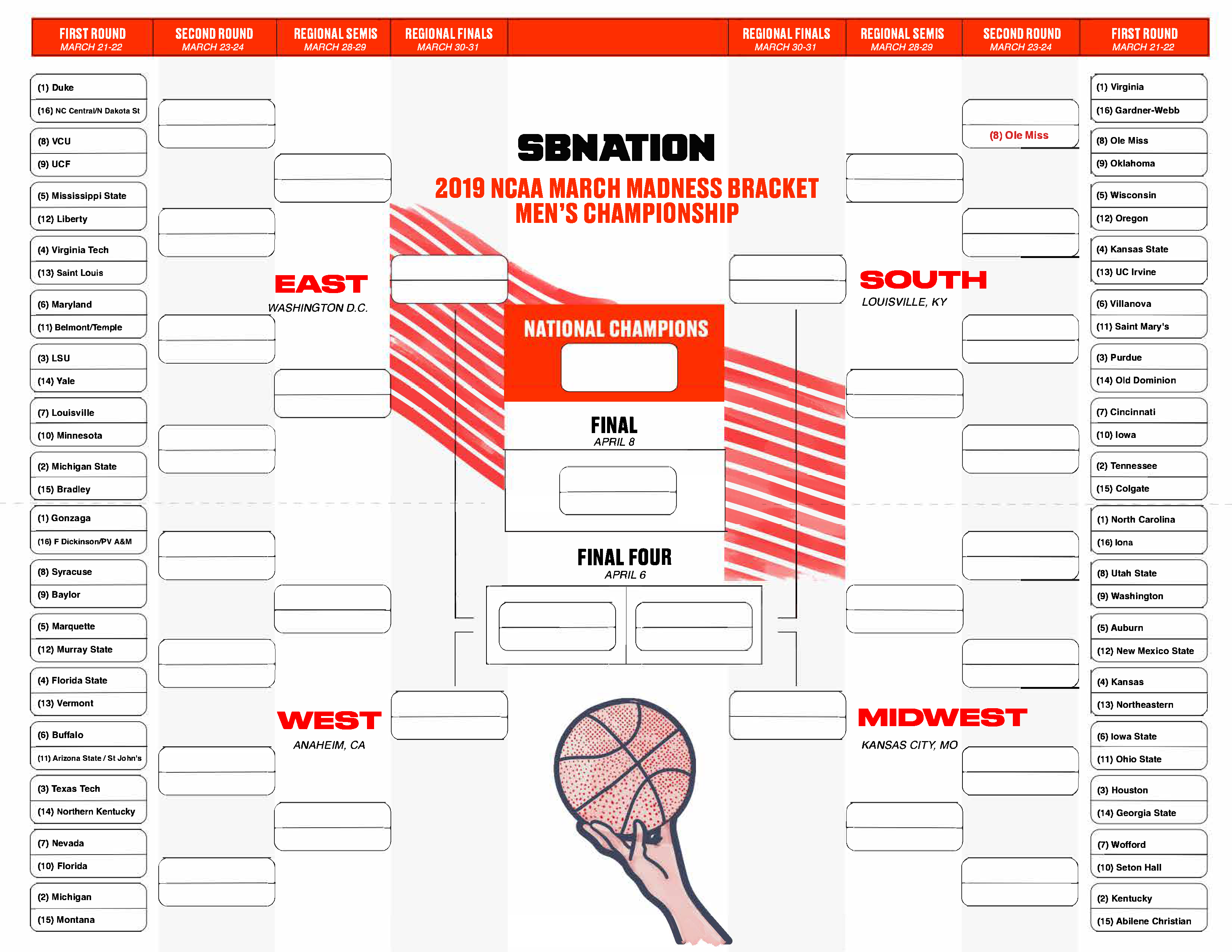 A Printable Ncaa Tournament Bracket With An Ole Miss Win Filled In