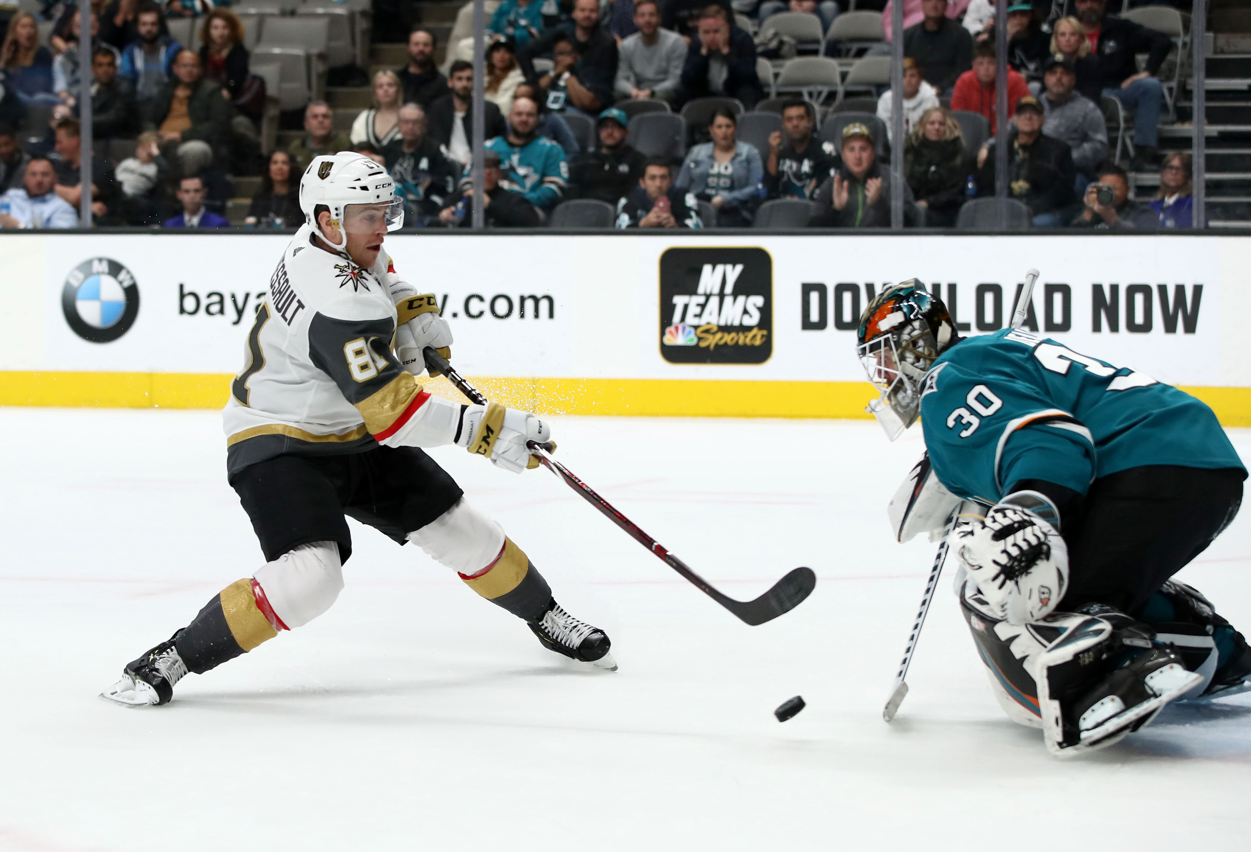 SAN JOSE, CALIFORNIA - MARCH 18: Aaron Dell #30 of the San Jose Sharks makes a save on a shot taken by Jonathan Marchessault #81 of the Vegas Golden Knights at SAP Center on March 18, 2019 in San Jose, California.
