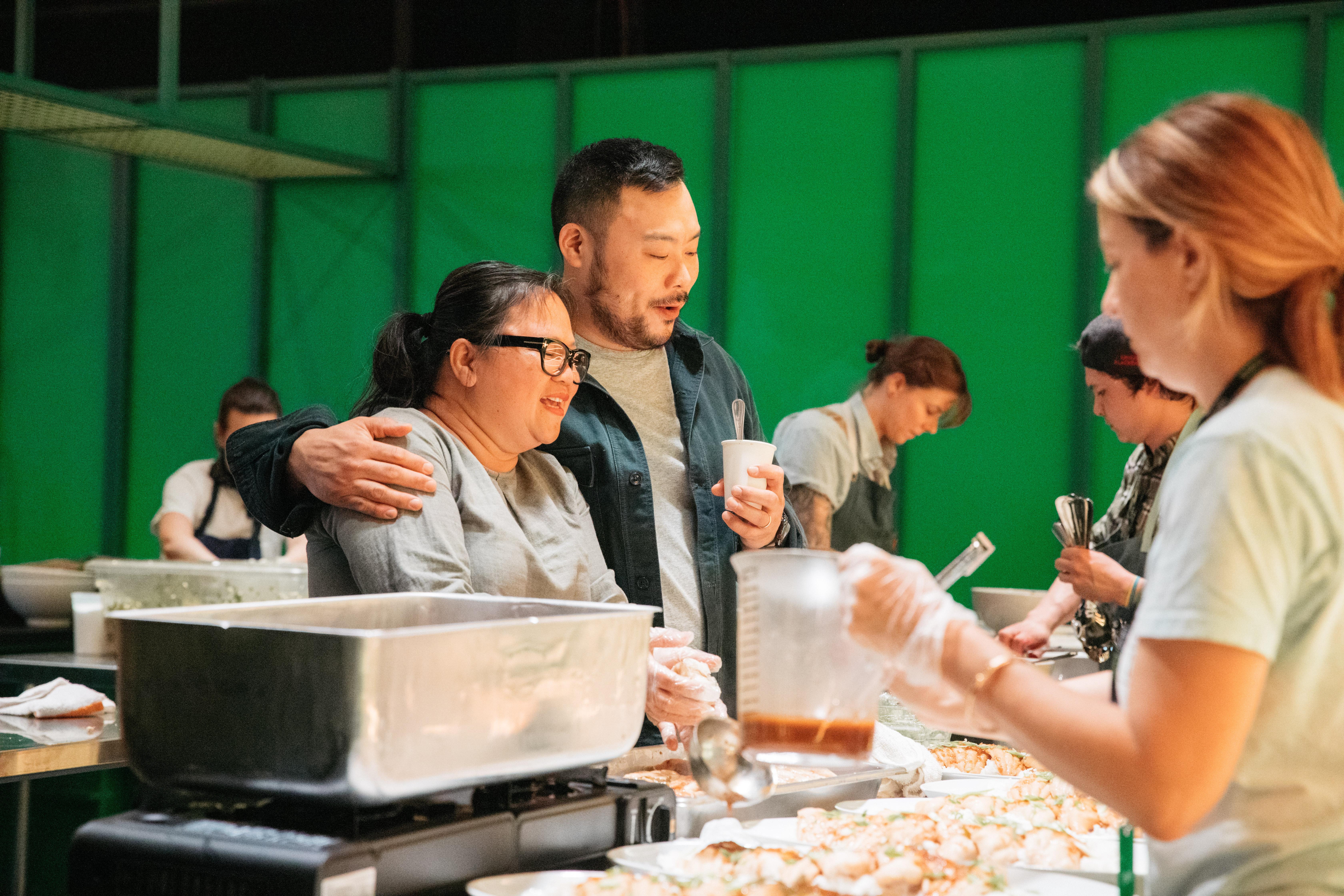 Chef Diep Tran with David Chang at the Uber Eats potluck dinner