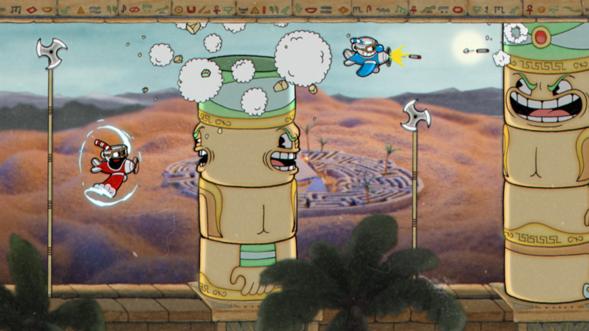 Cuphead - flying past towers