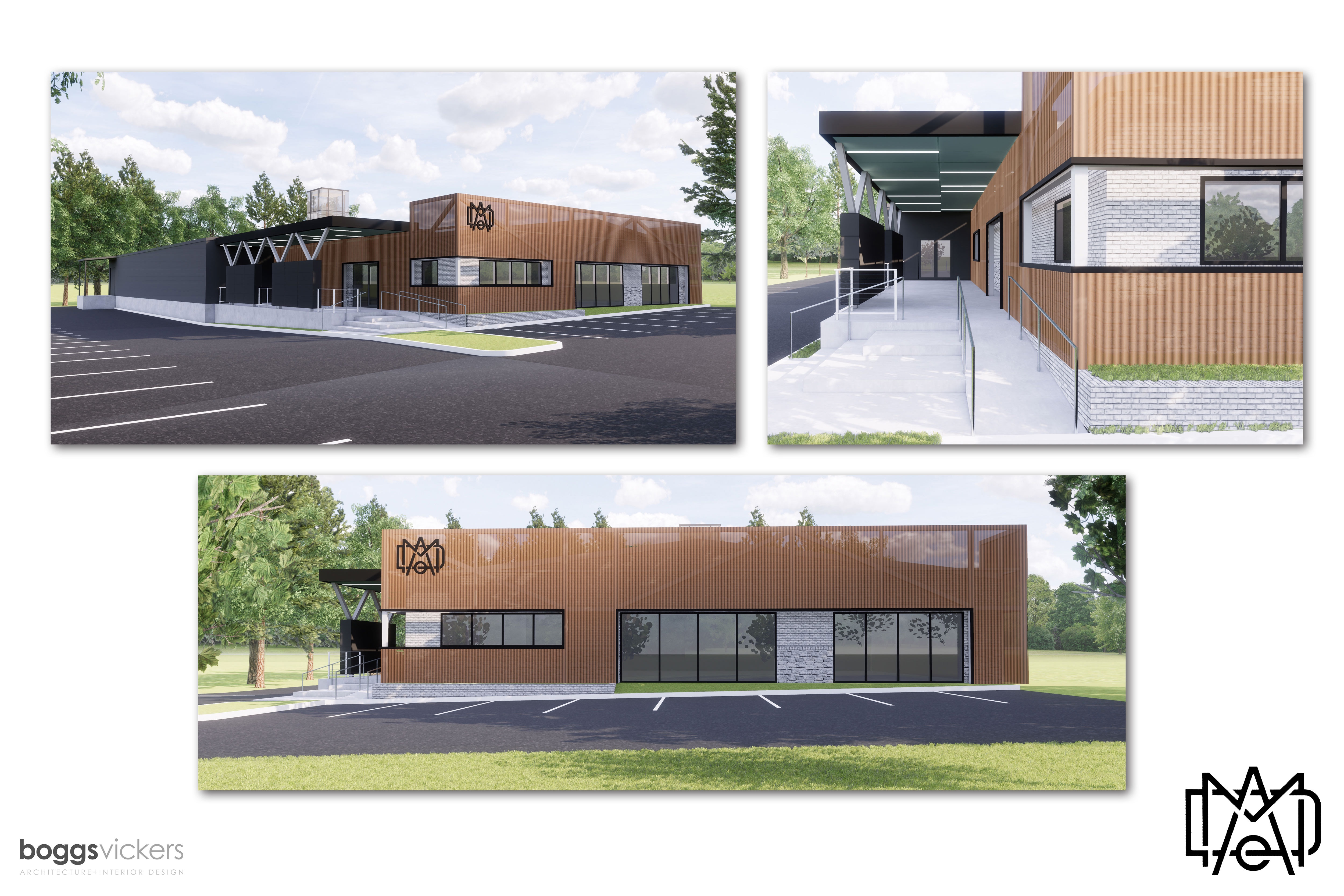 A rendering of the art gallery and distillery in Chamblee.