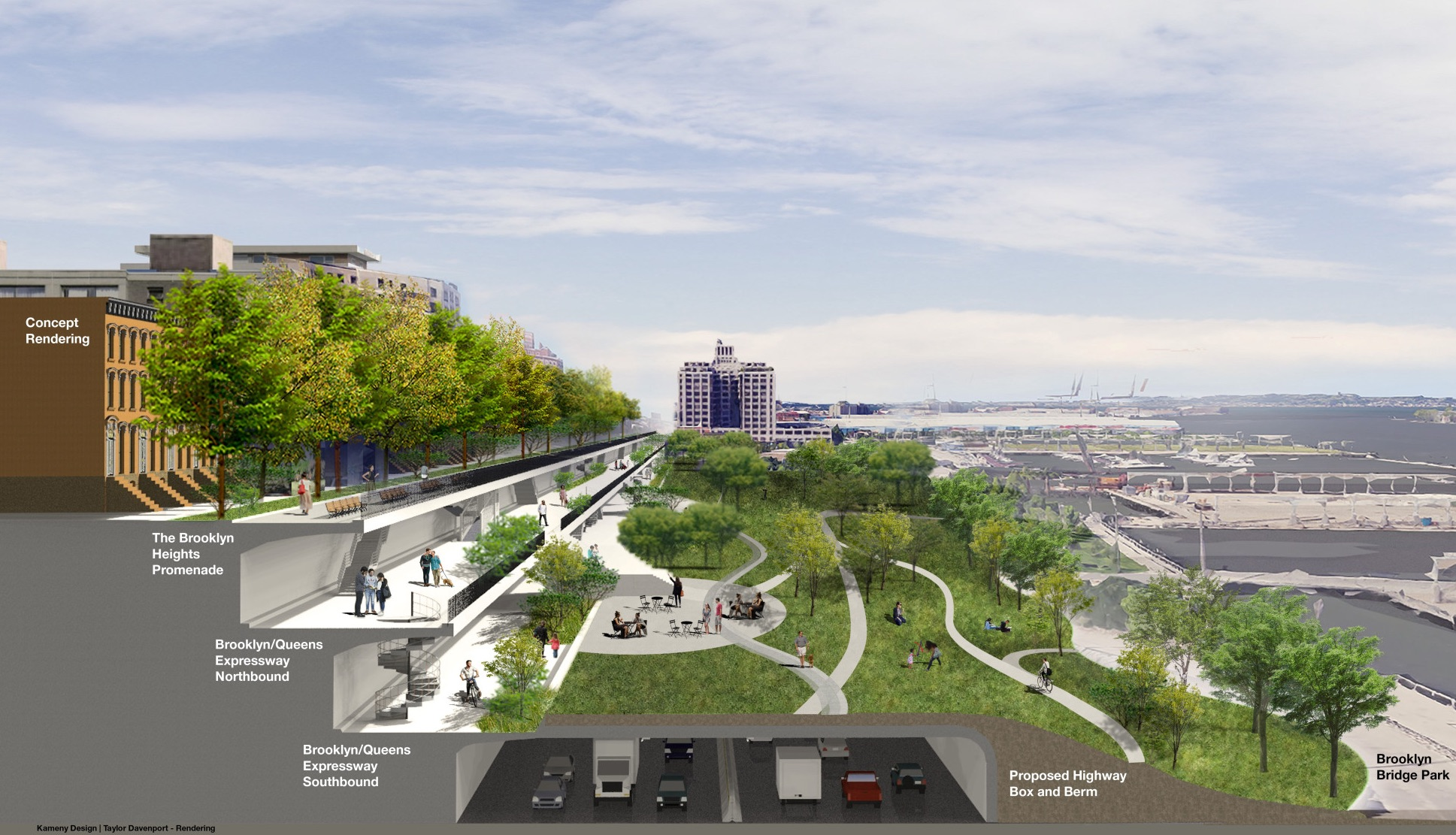 Linear park and aboveground tunnel proposed as fix for BQE problems