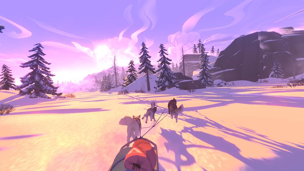 The Red Lantern - dog-sledding toward trees