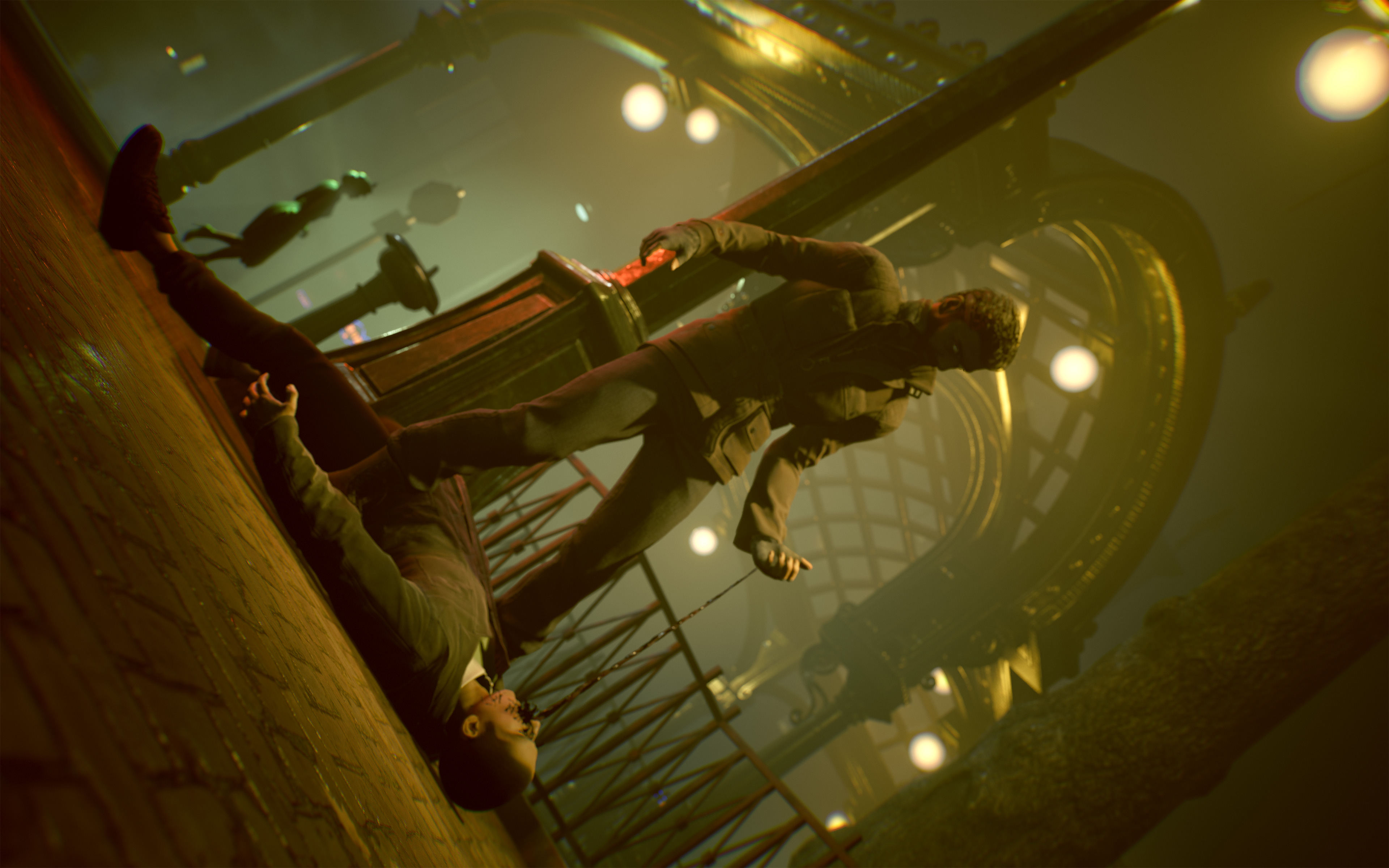 a man standing over a man lying on the ground in Vampire: The Masquerade - Bloodlines 2