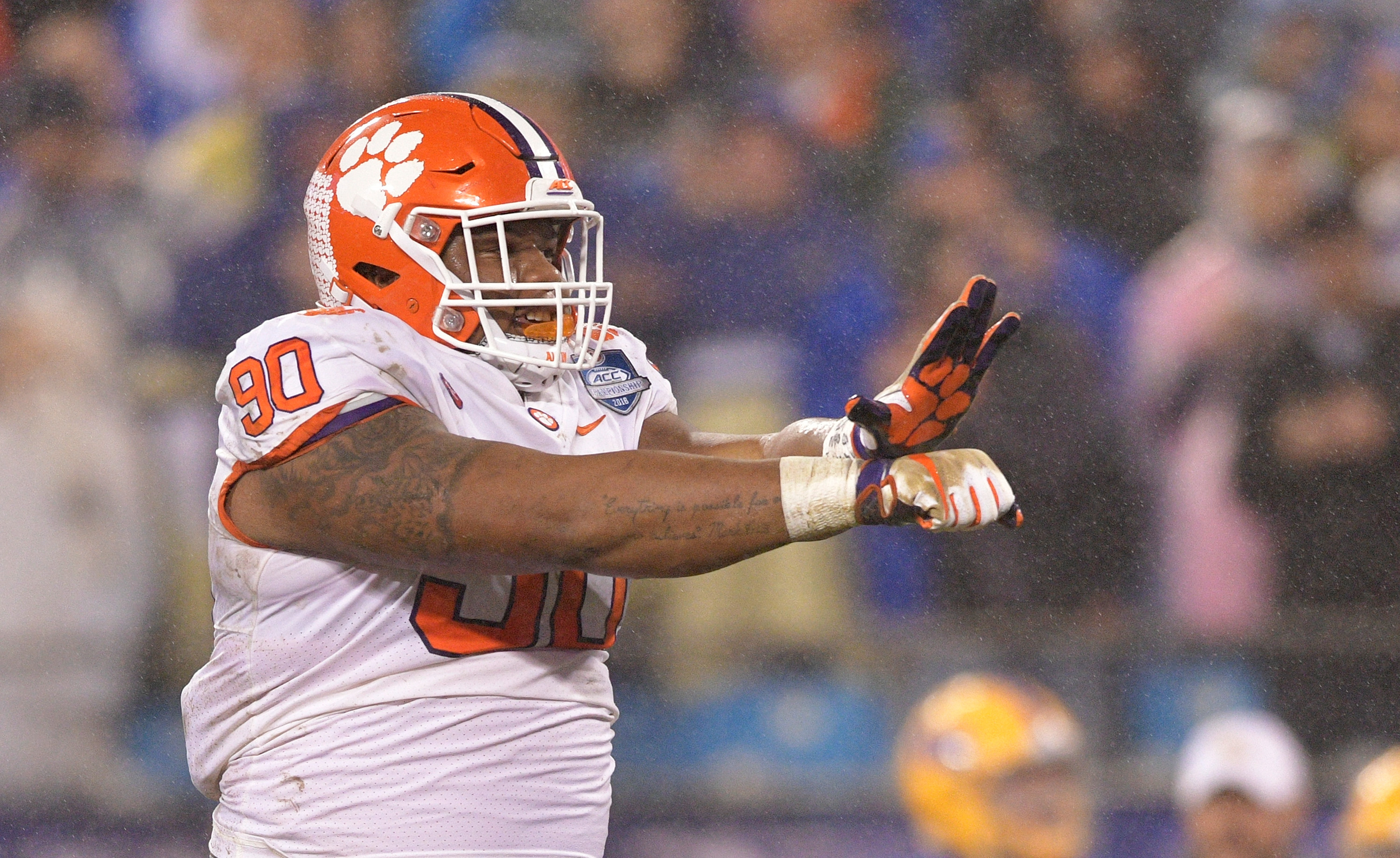 Clemson Tigers DL Dexter Lawrence reacts against the Pittsburgh Panthers, Dec. 1, 2018.