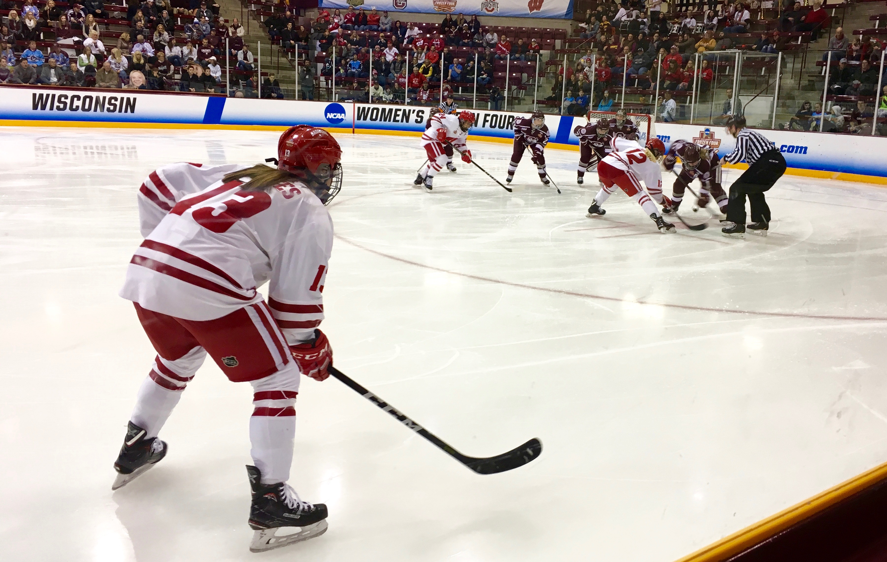 Maddie Rolfes (#13) waiting for a face off.