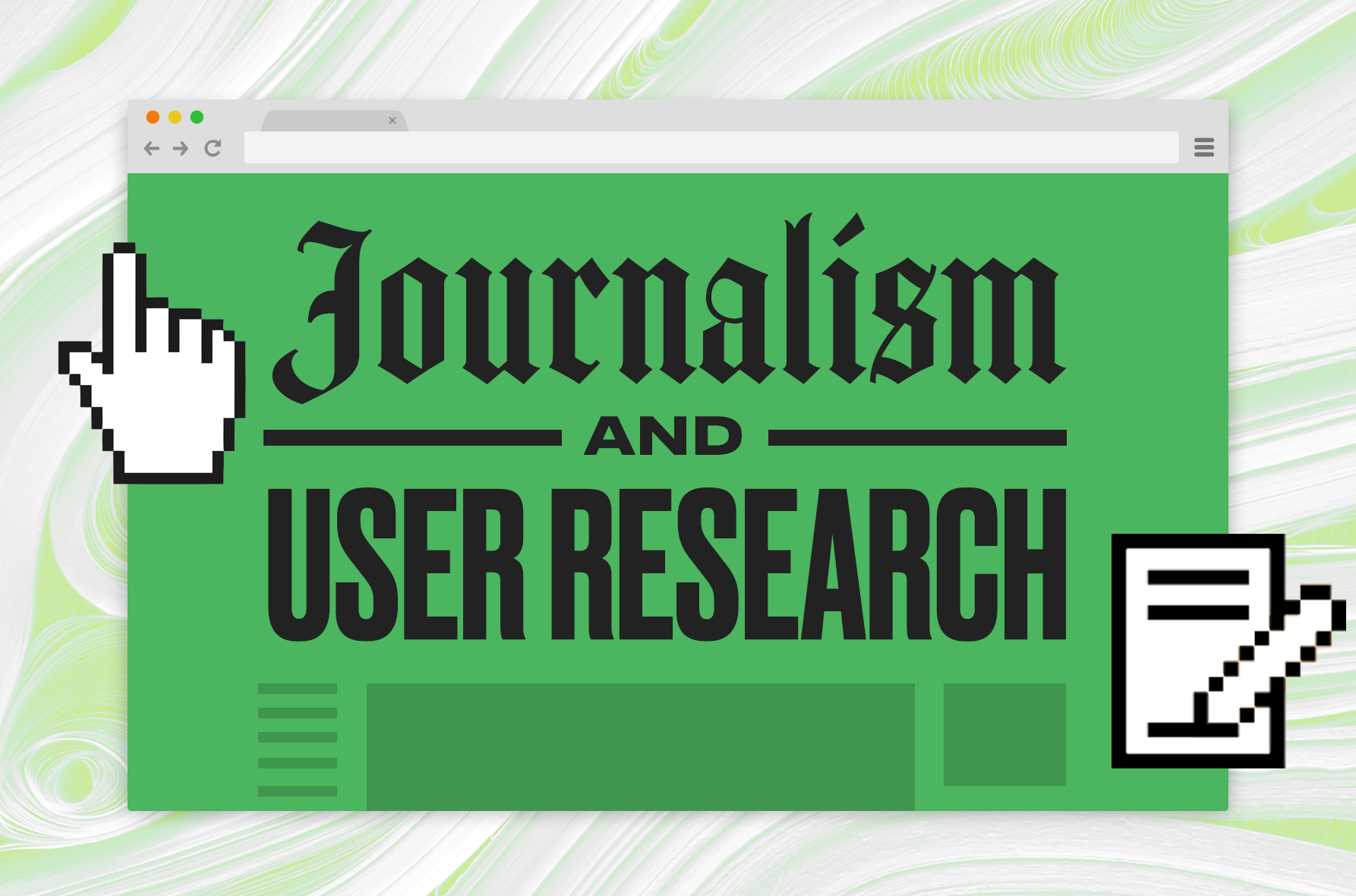 Graphic image for blog post on the journalism and UX research relationship