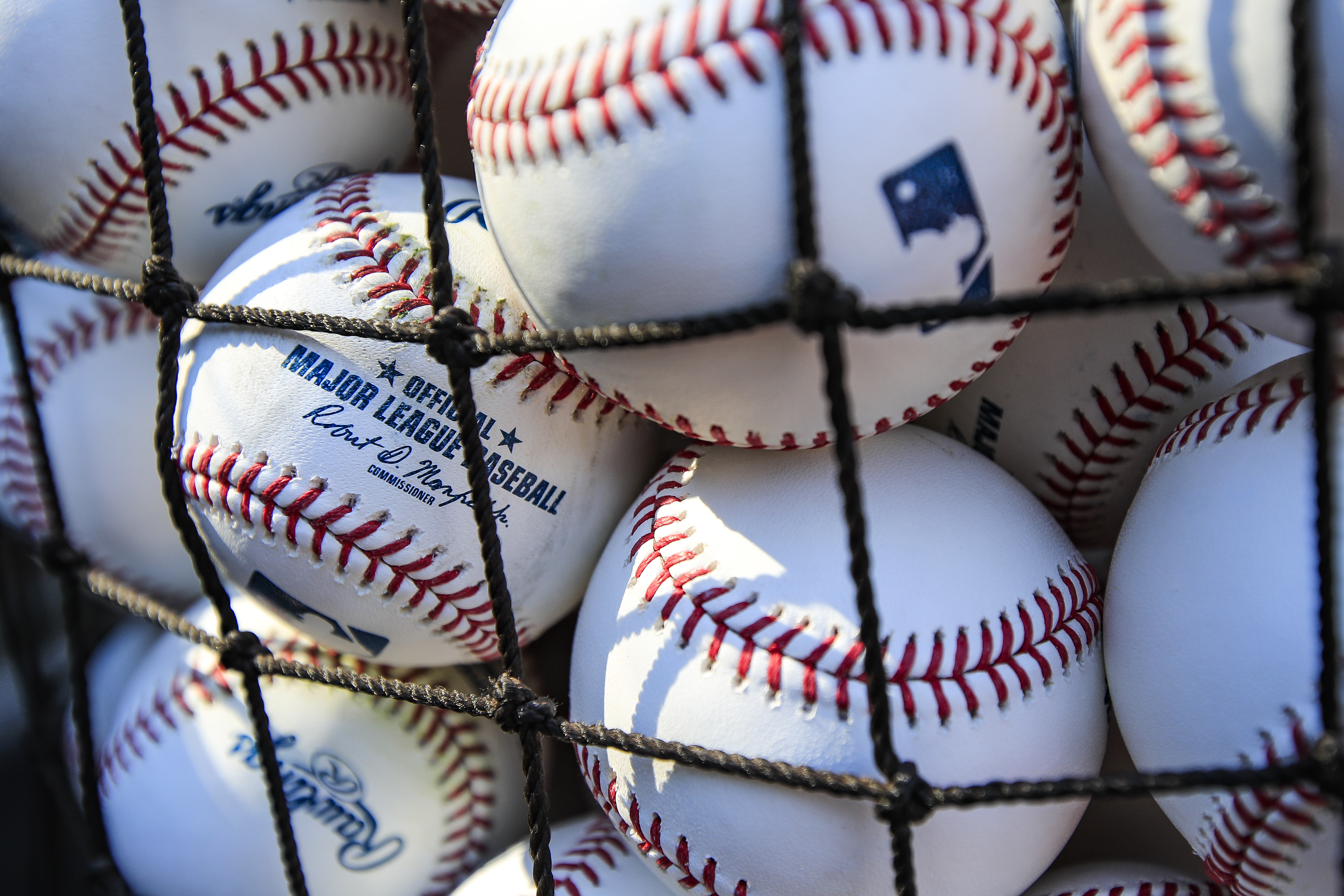 Baseballs on the field before the game between the Cleveland Indians and the Kansas City Royals at Kauffman Stadium on July 2, 2018 in Kansas City, Missouri.