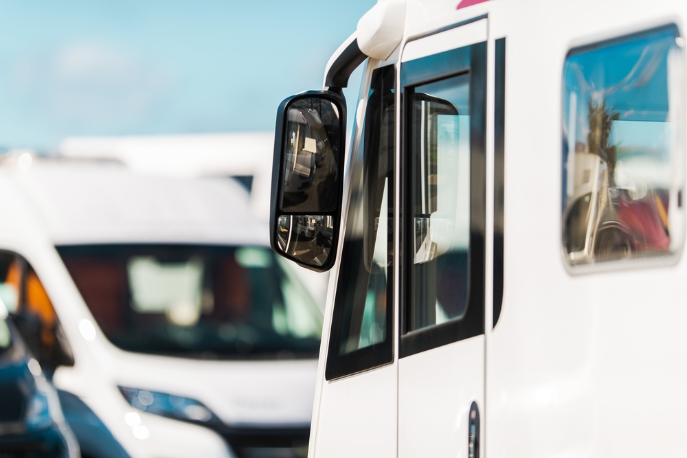 Close-up photo of parked RVs.