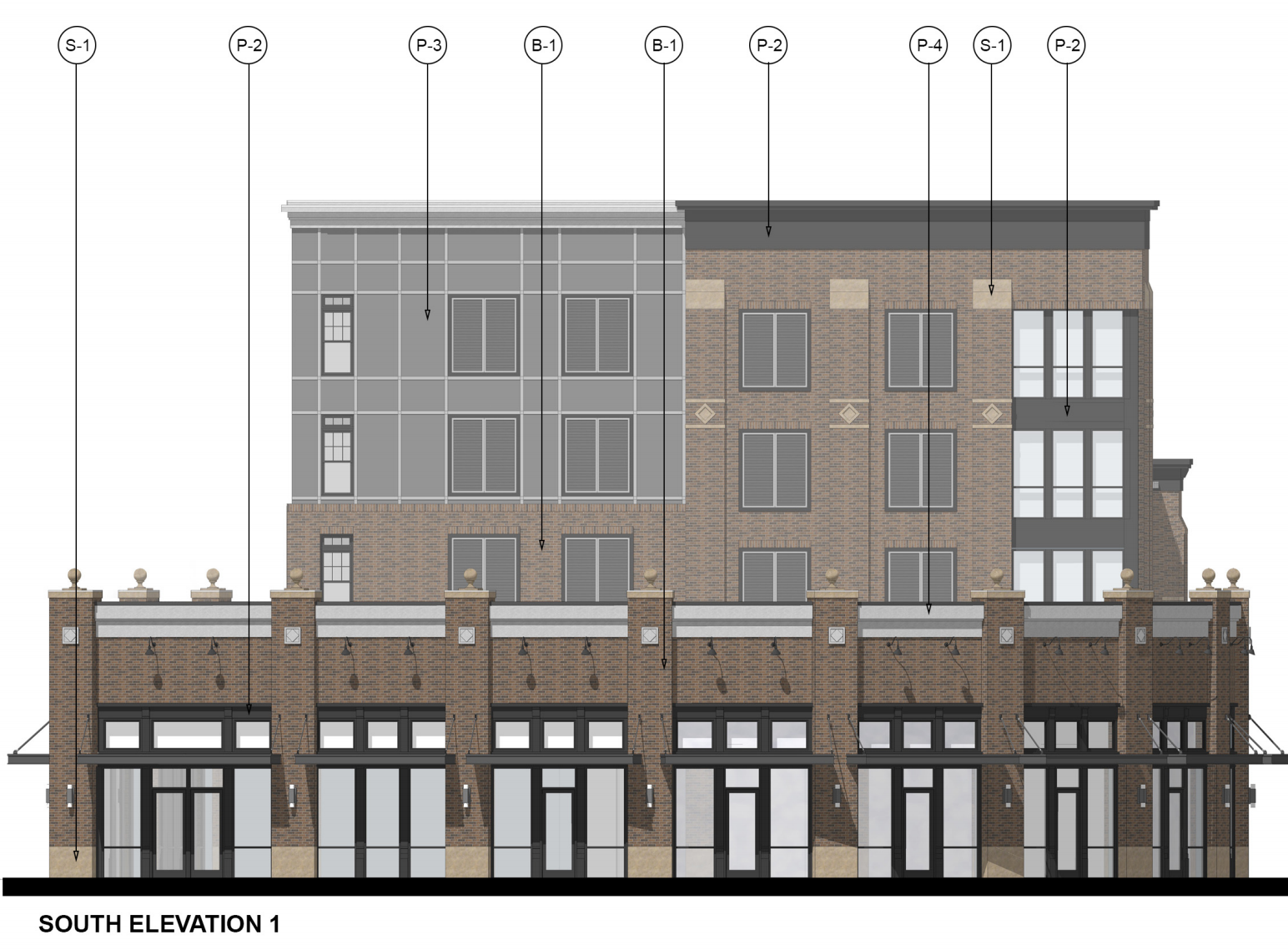 a rendering of the south side of the apartment building