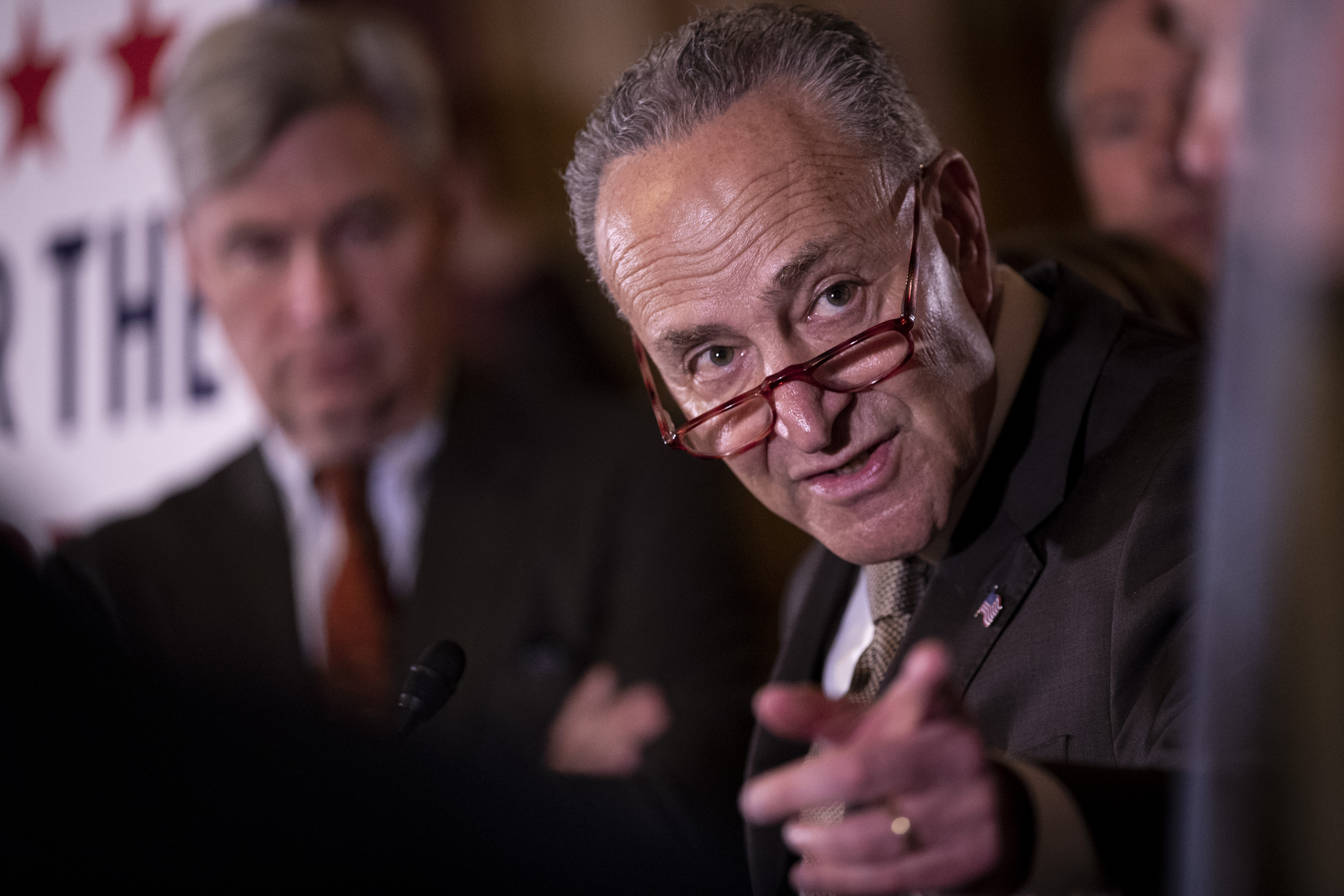 Sen. Chuck Schumer speaks at a press conference on Capitol Hill in March 2019.