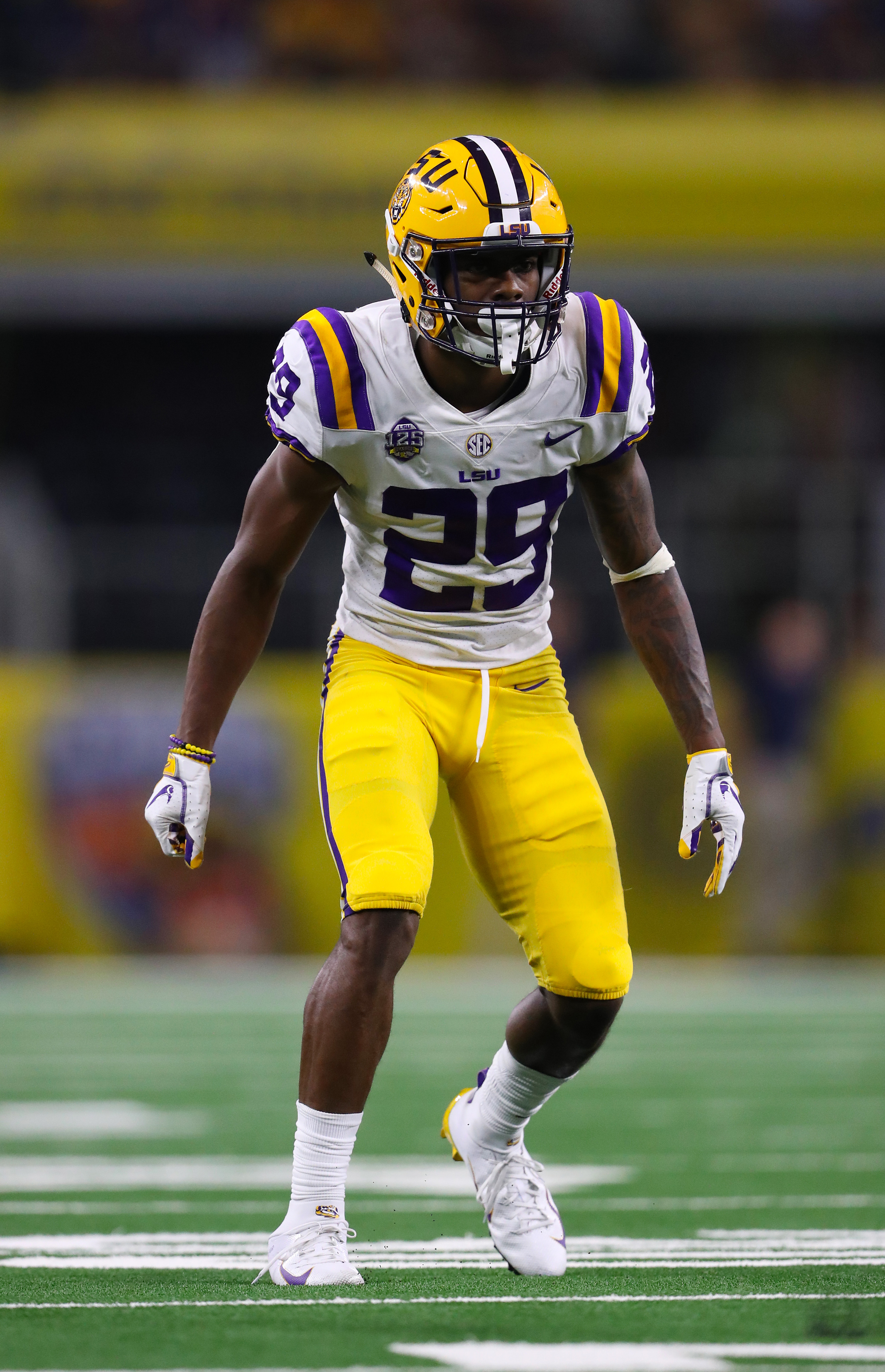 LSU Tigers CB Greedy Williams in action against the Miami Hurricanes, Sep. 2, 2018.