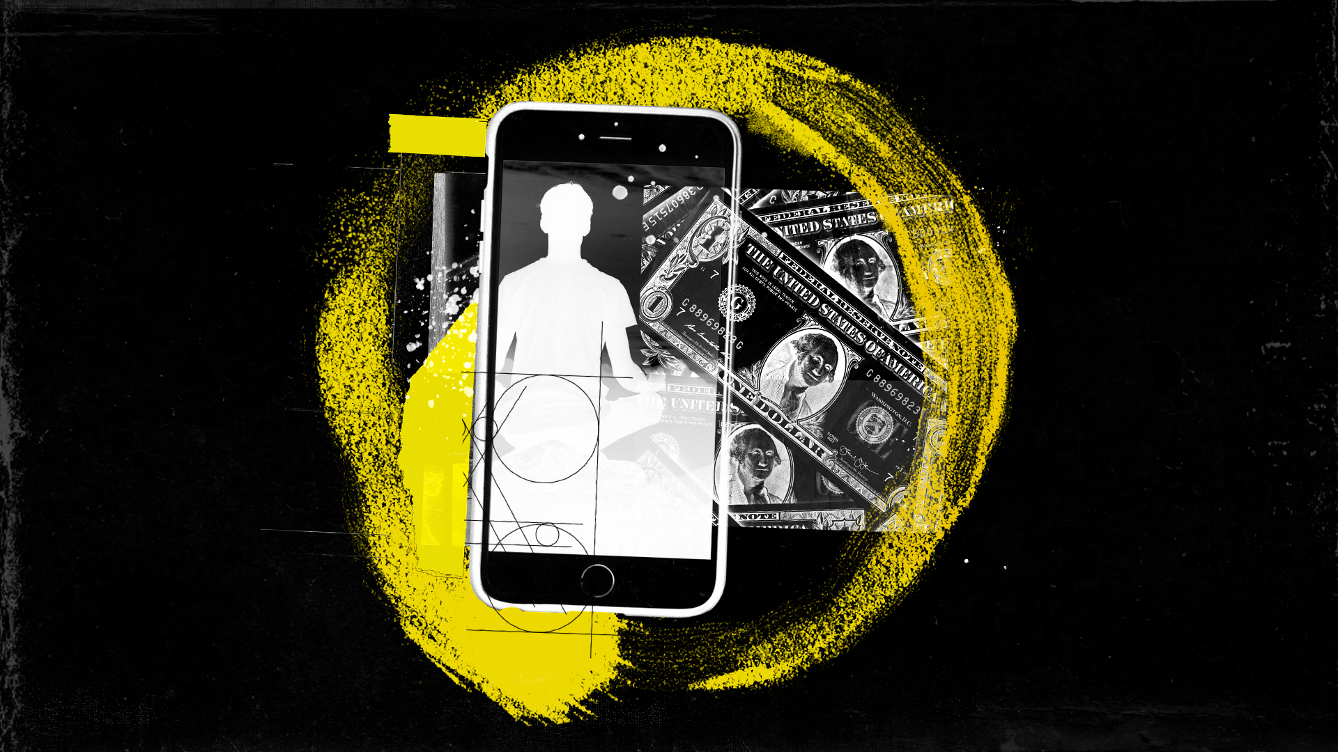 A collage of a smartphone showing a silhouette of a person meditating; dollars; and a highlighter.