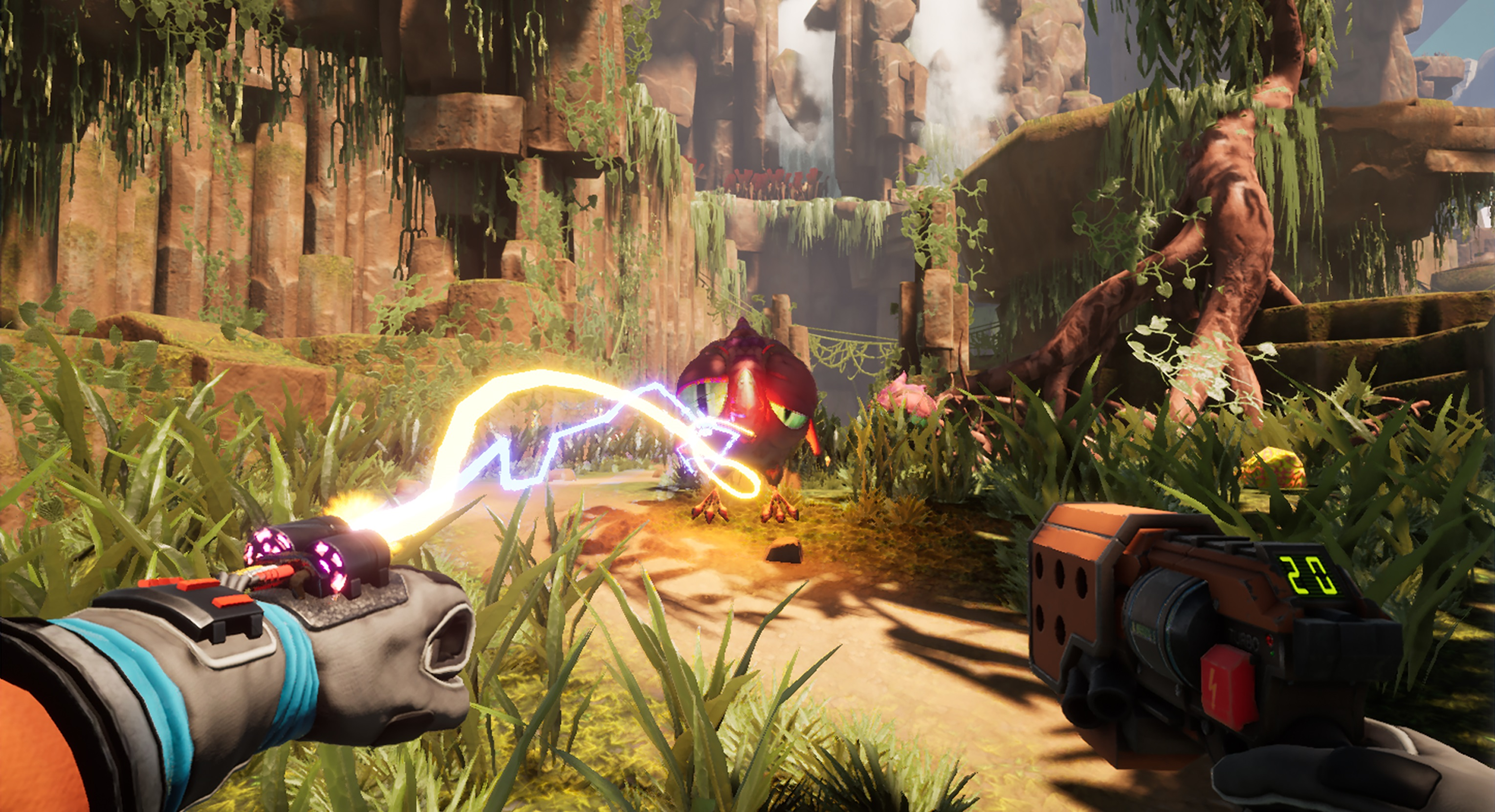 Journey to the Savage Planet - firing energy at an enemy