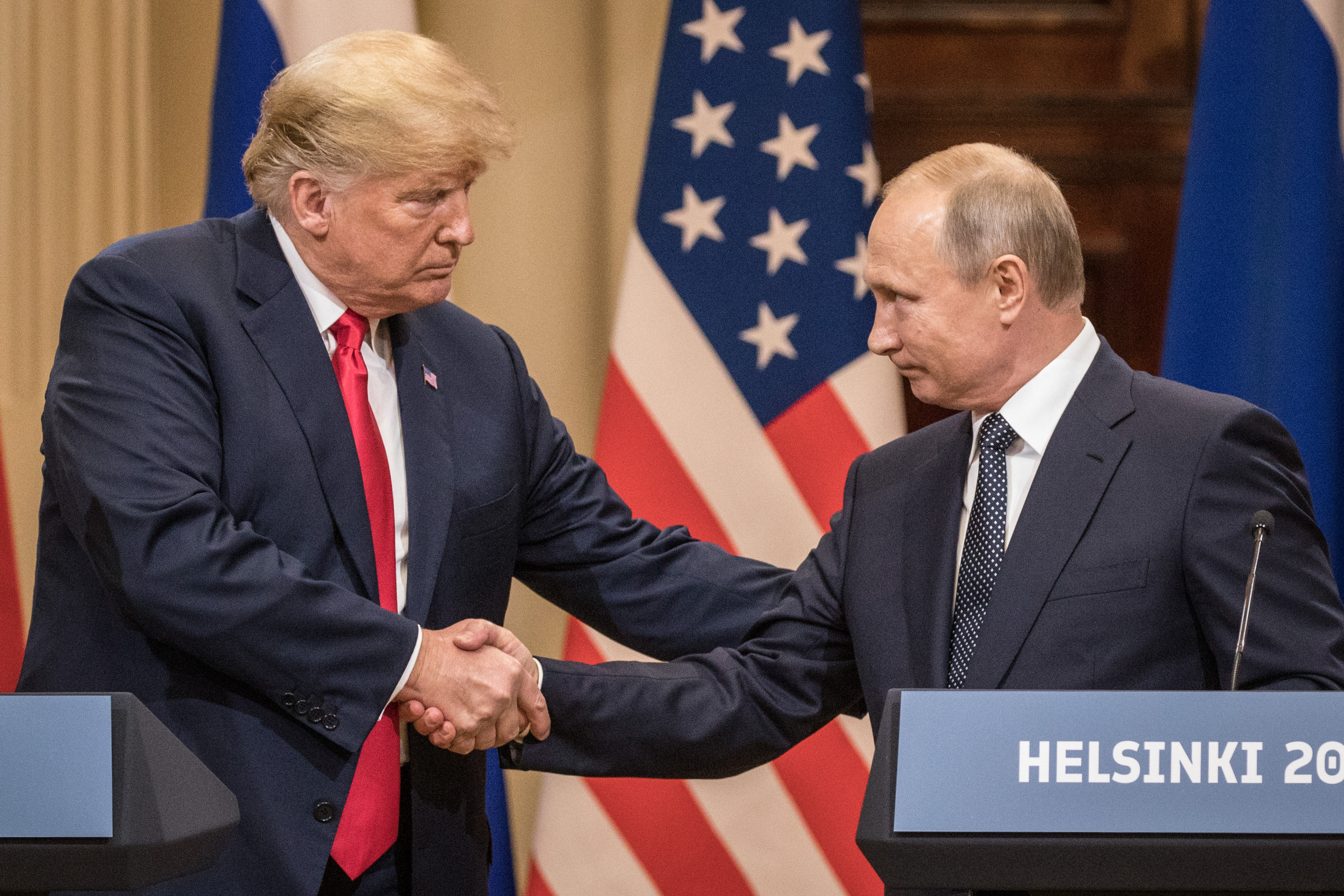 President Trump And President Putin Hold A Joint Press Conference After Summit.