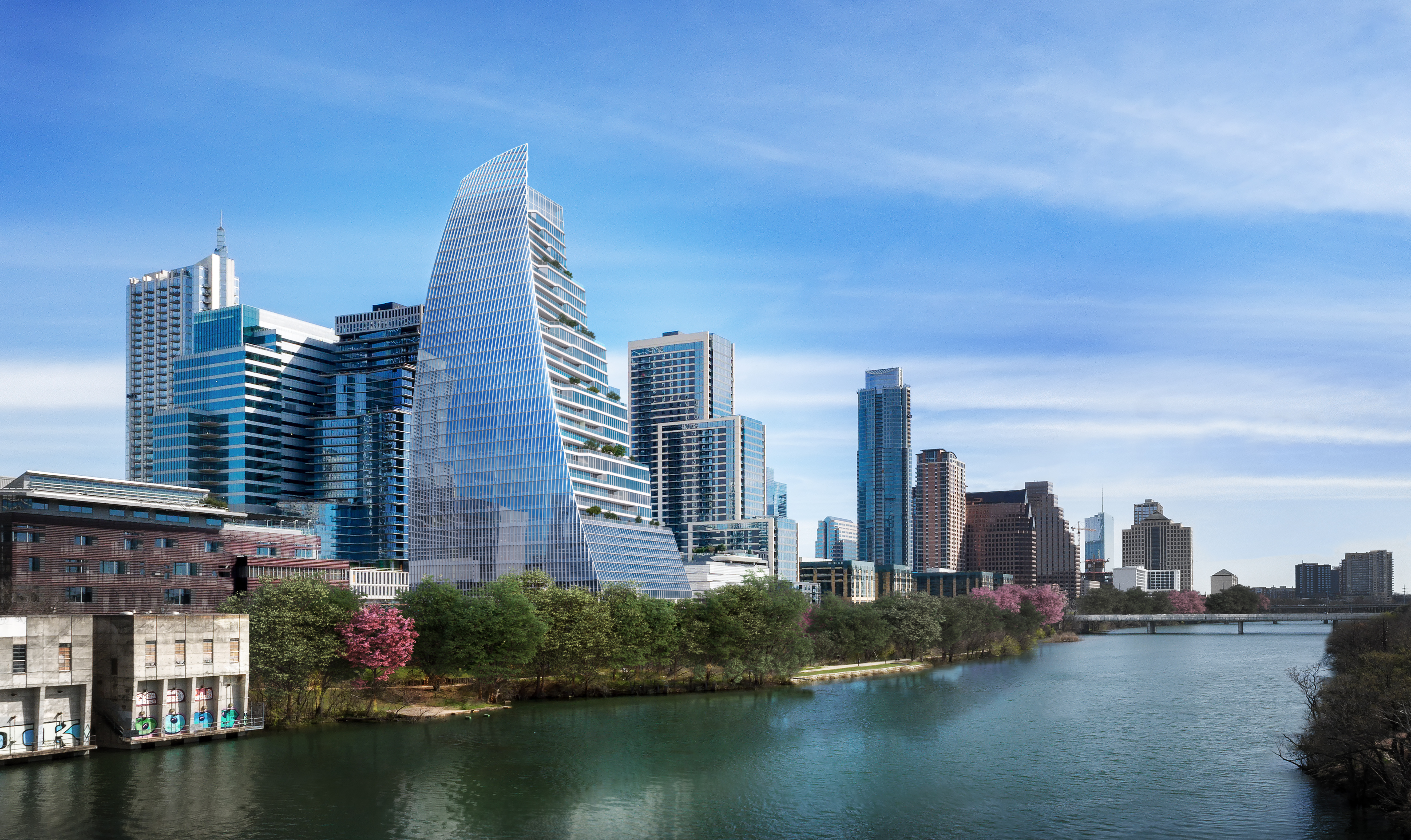Rendering of downtown Austin from pov of south side of lake with sail-shaped tower in foreground on lakeside