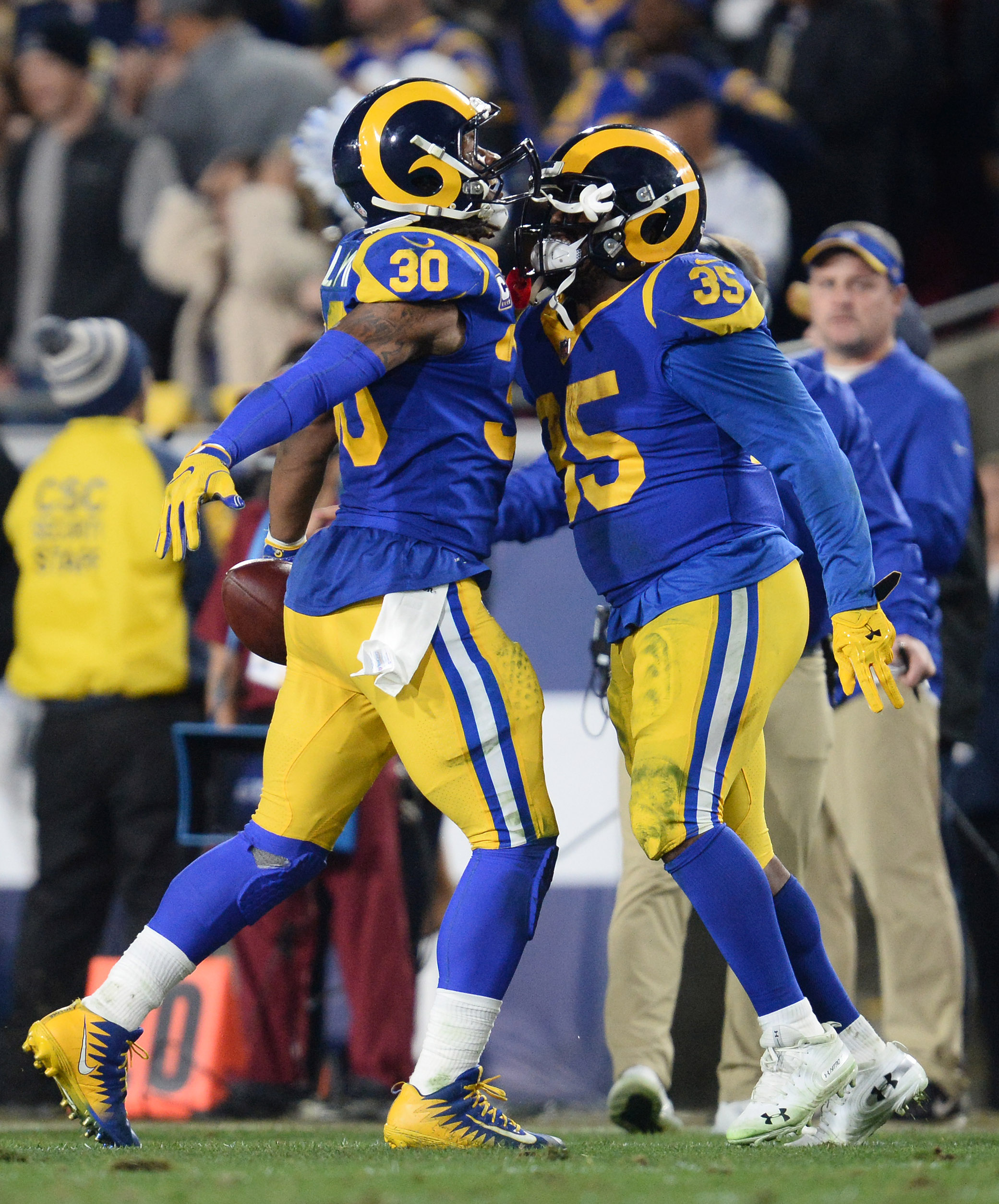 Los Angeles Rams RB Todd Gurley celebrates with RB C.J. Anderson after scoring a touchdown against the Dallas Cowboys in the Divisional Round of the 2019 NFL Playoffs, Jan. 12, 2019.