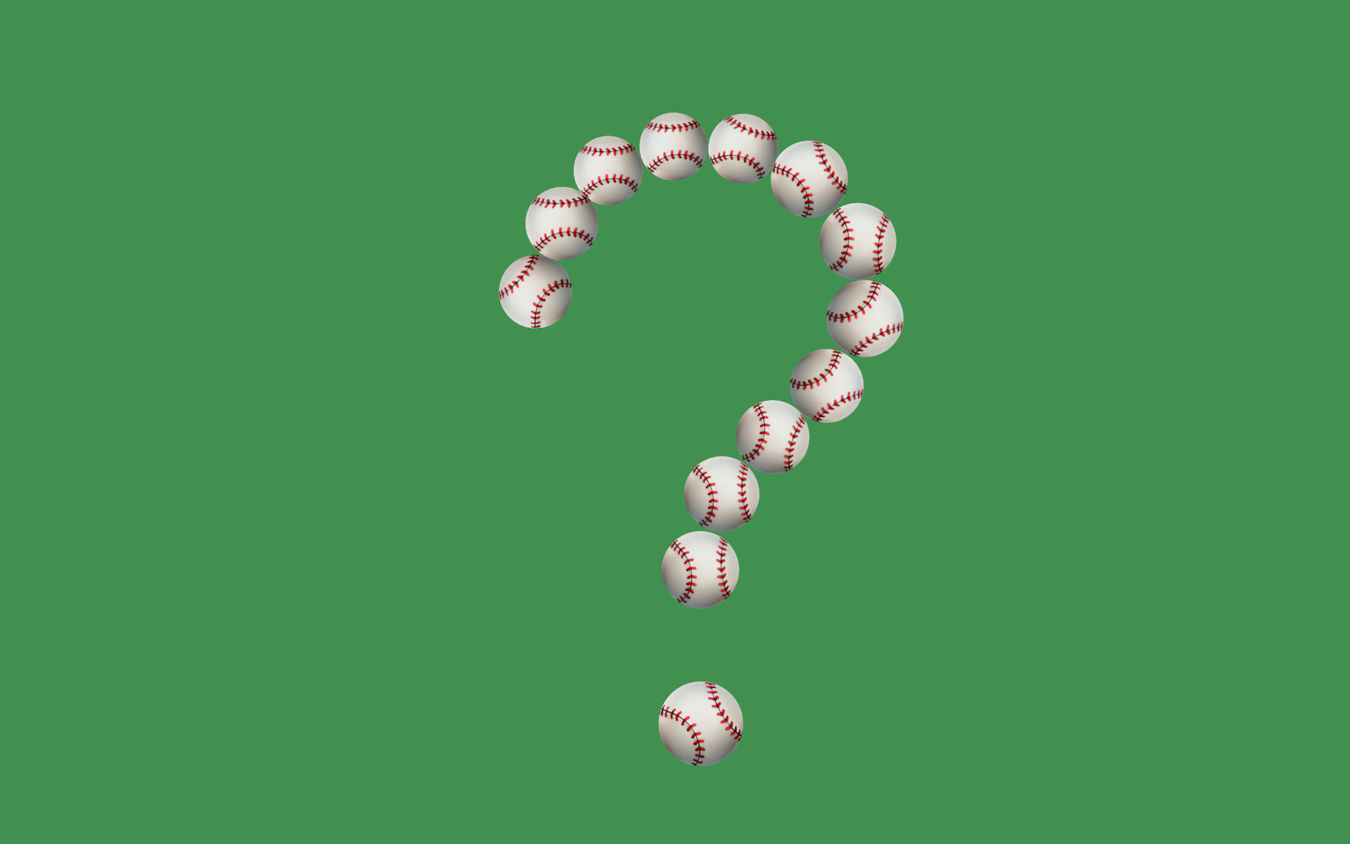 Baseball emojis arranged in the shape of a question mark.