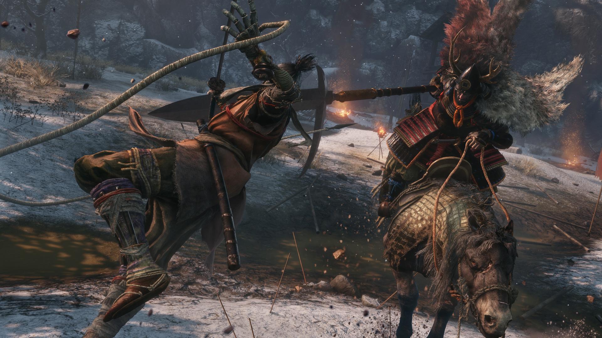 Sekiro battles a samurai on horseback in a screenshot from Sekiro: Shadows Die Twice.