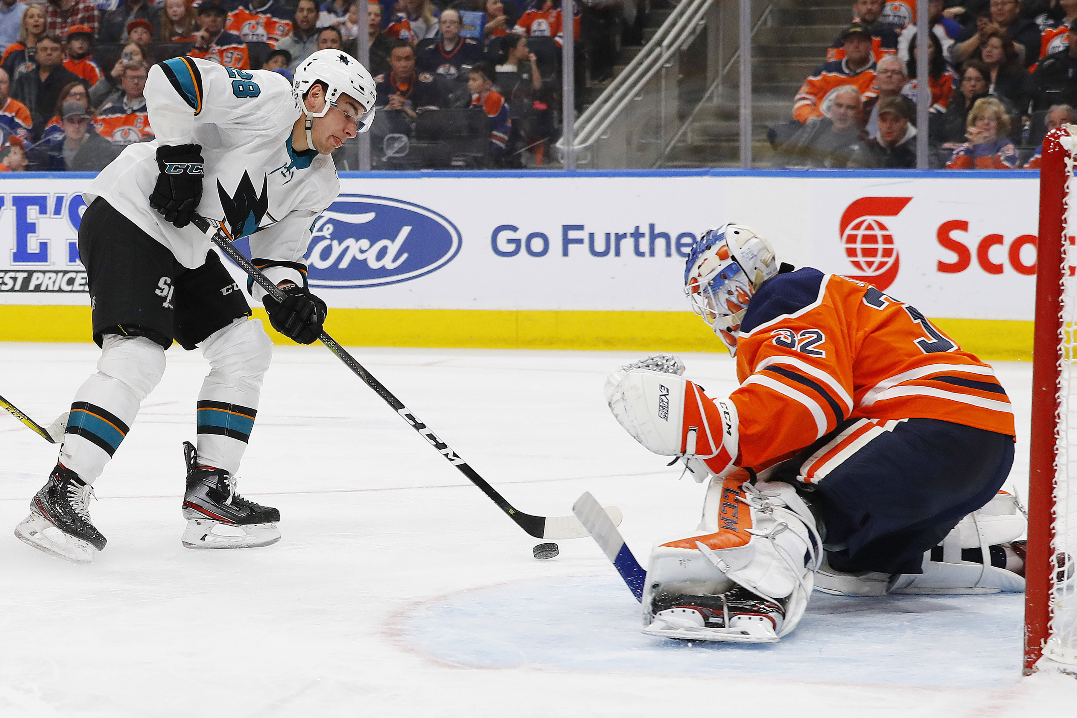 San Jose Sharks forward Timo Meier (28) is stopped by Edmonton Oilers goaltender Anthony Stolarz (32) during the second periodat Rogers Place.