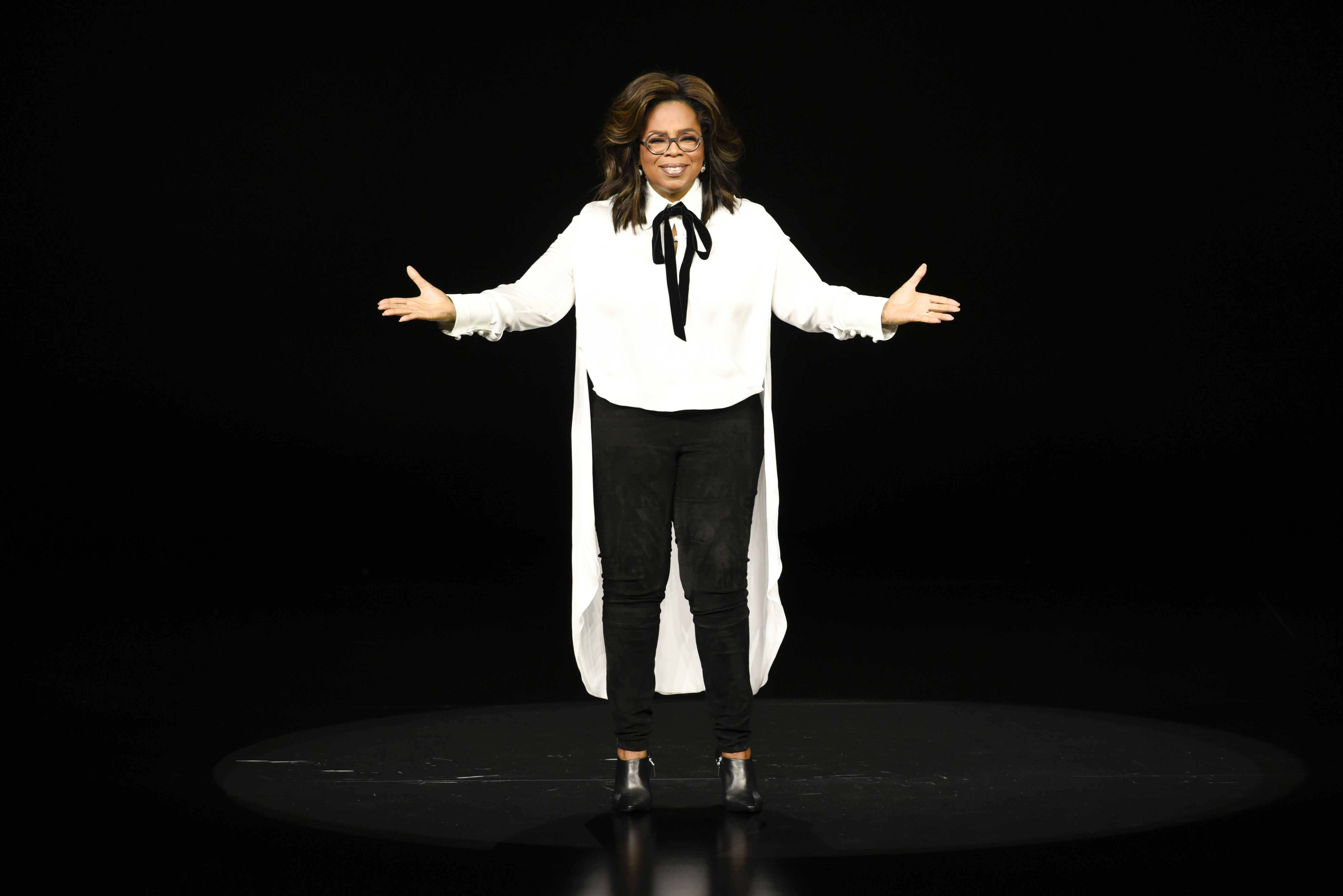 Oprah Winfrey onstage at the Apple event in Cupertino.