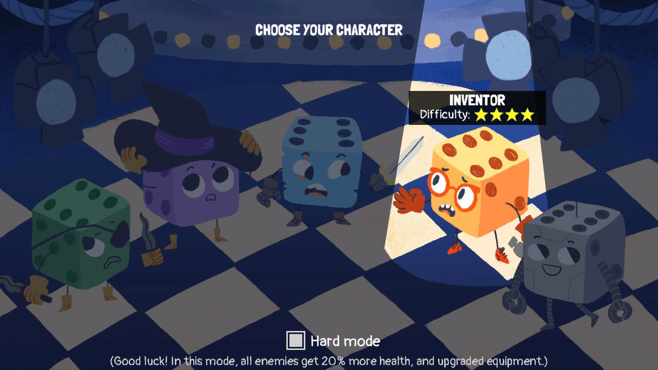 dicey dungeons character selection screen