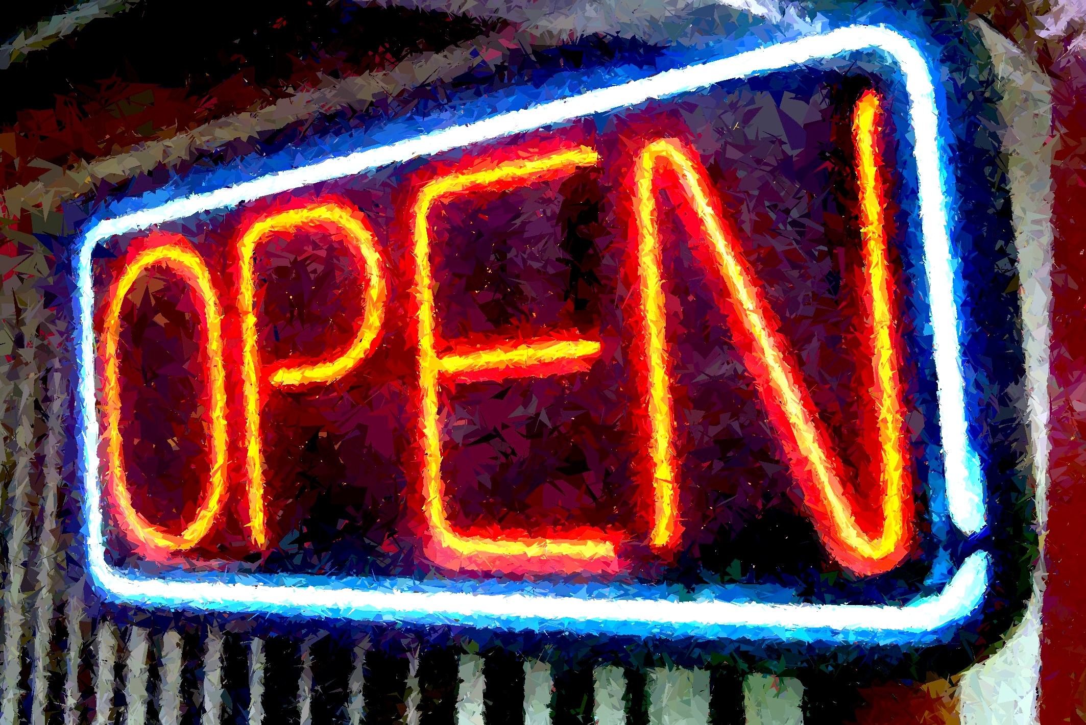 A neon sign that reads 'Open'