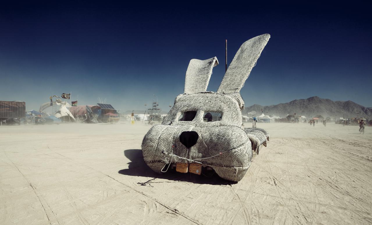 A rabbit-shaped car at Burning Man.