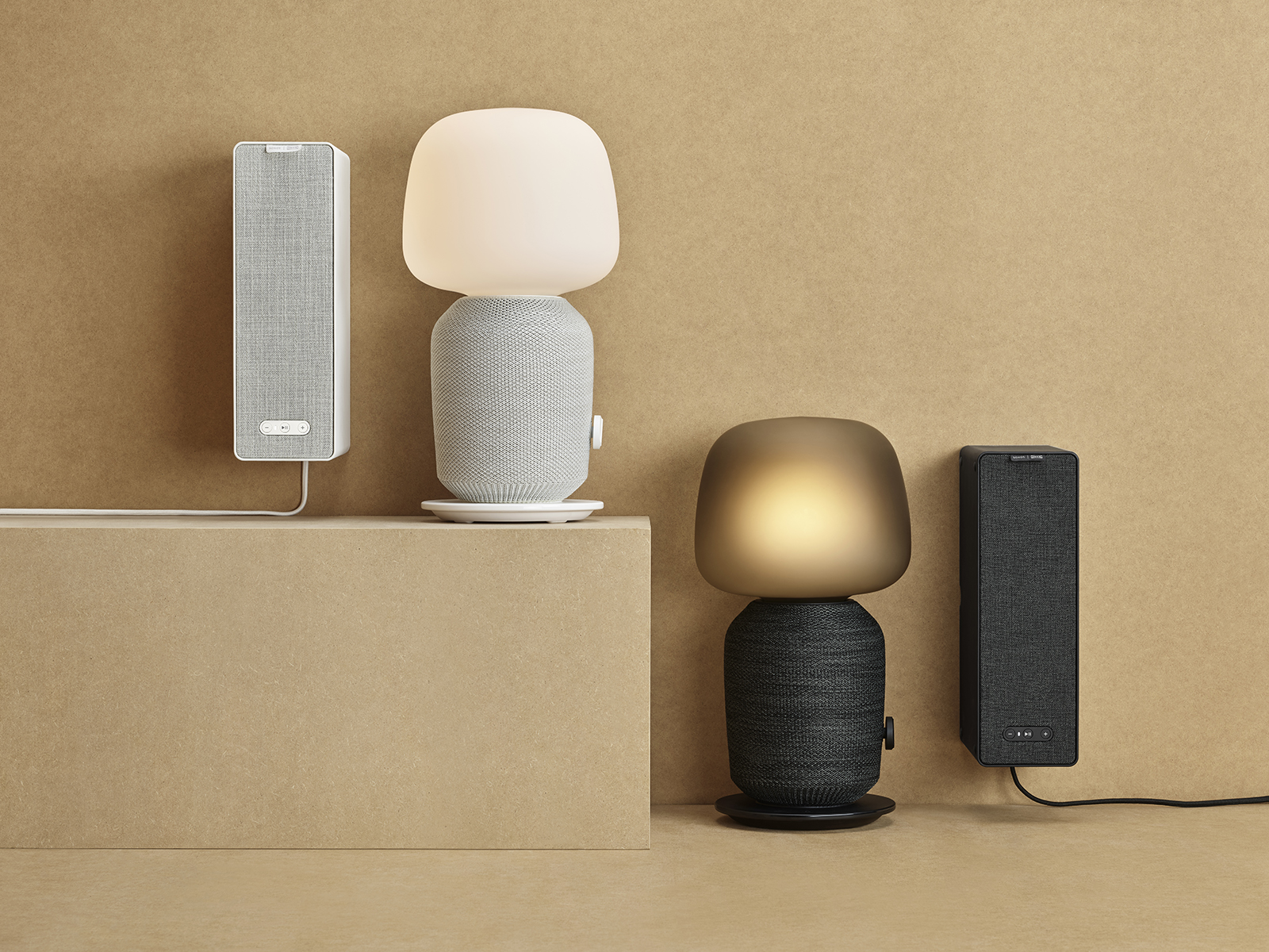 Black and white lamp and speaker