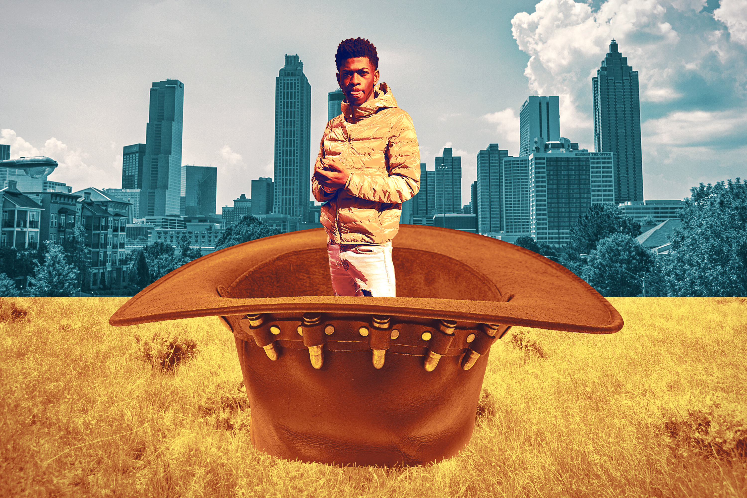 Lil Nas standing in an oversize cowboy hat