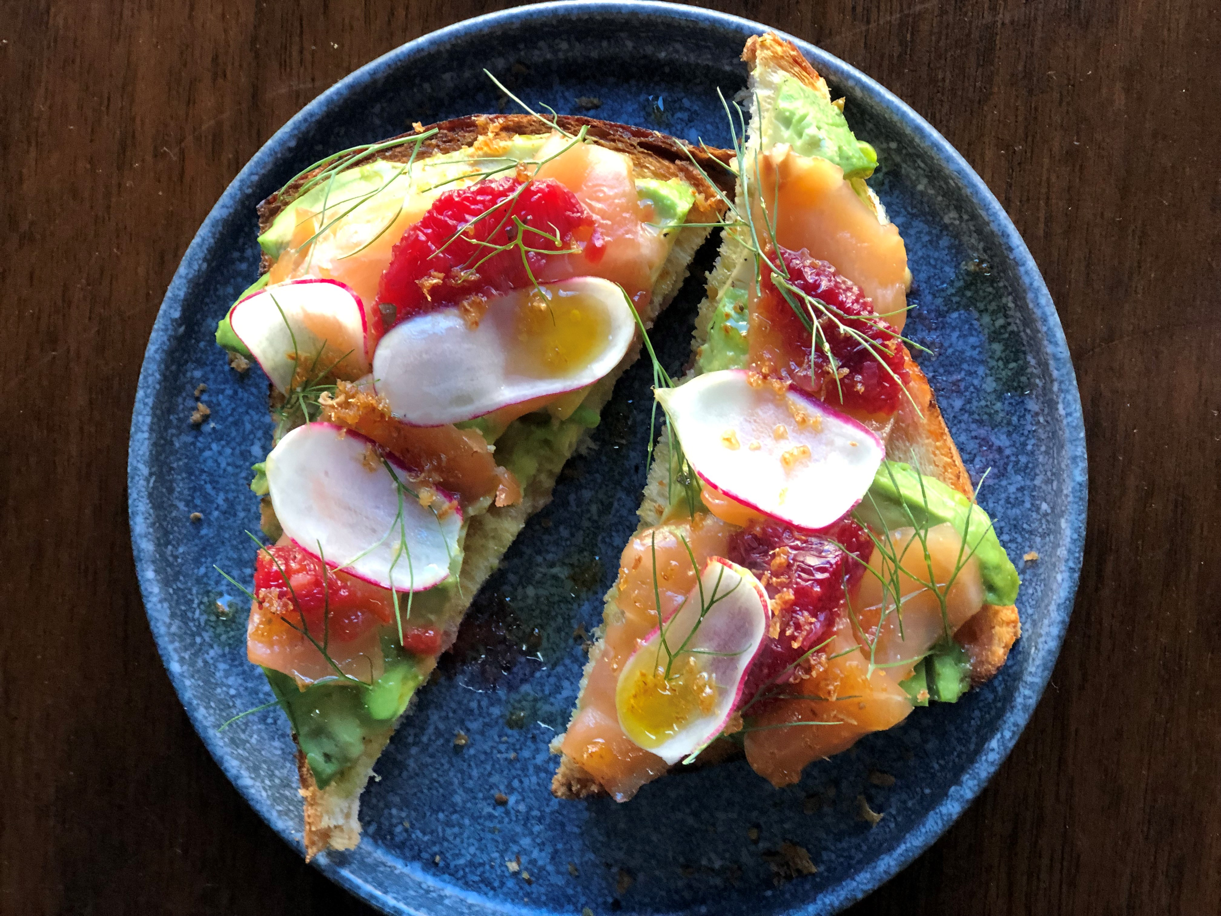 Café Beatrice's avocado toast with cured salmon, blood orange, and radish