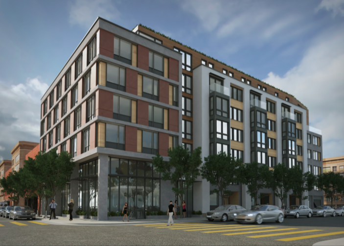 A rendering of a seven-story building on Folsom Street.