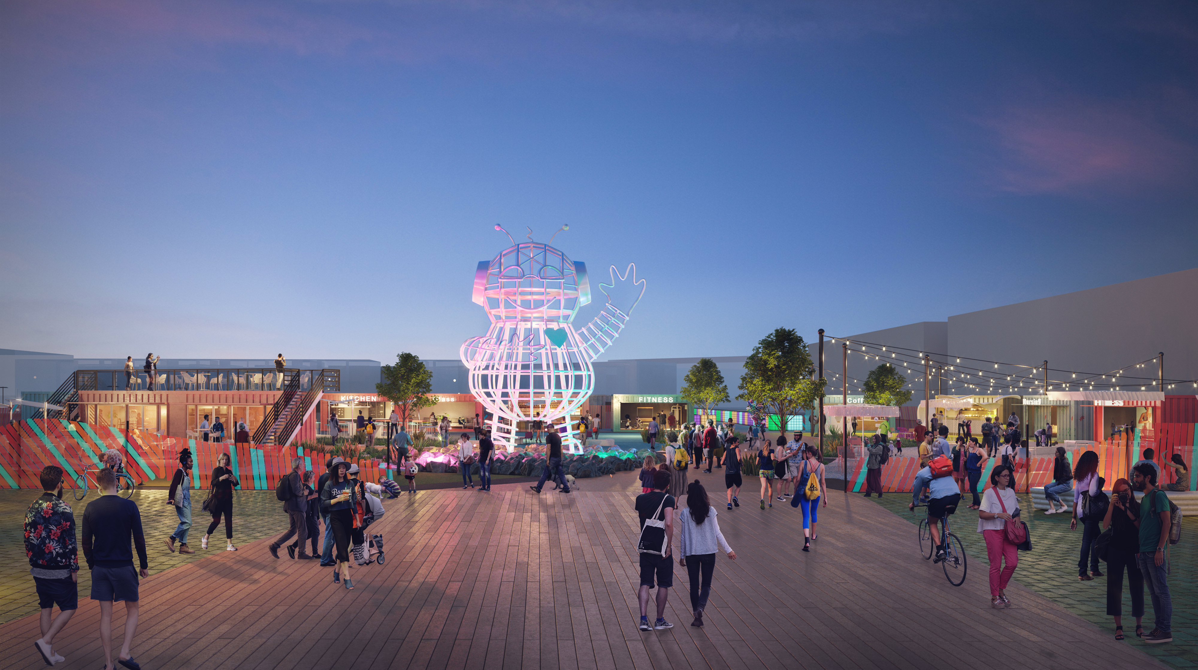 The Piazza Reboot in Northern Liberties Includes a Roof Deck and a 33-Foot Robot From Burning Man