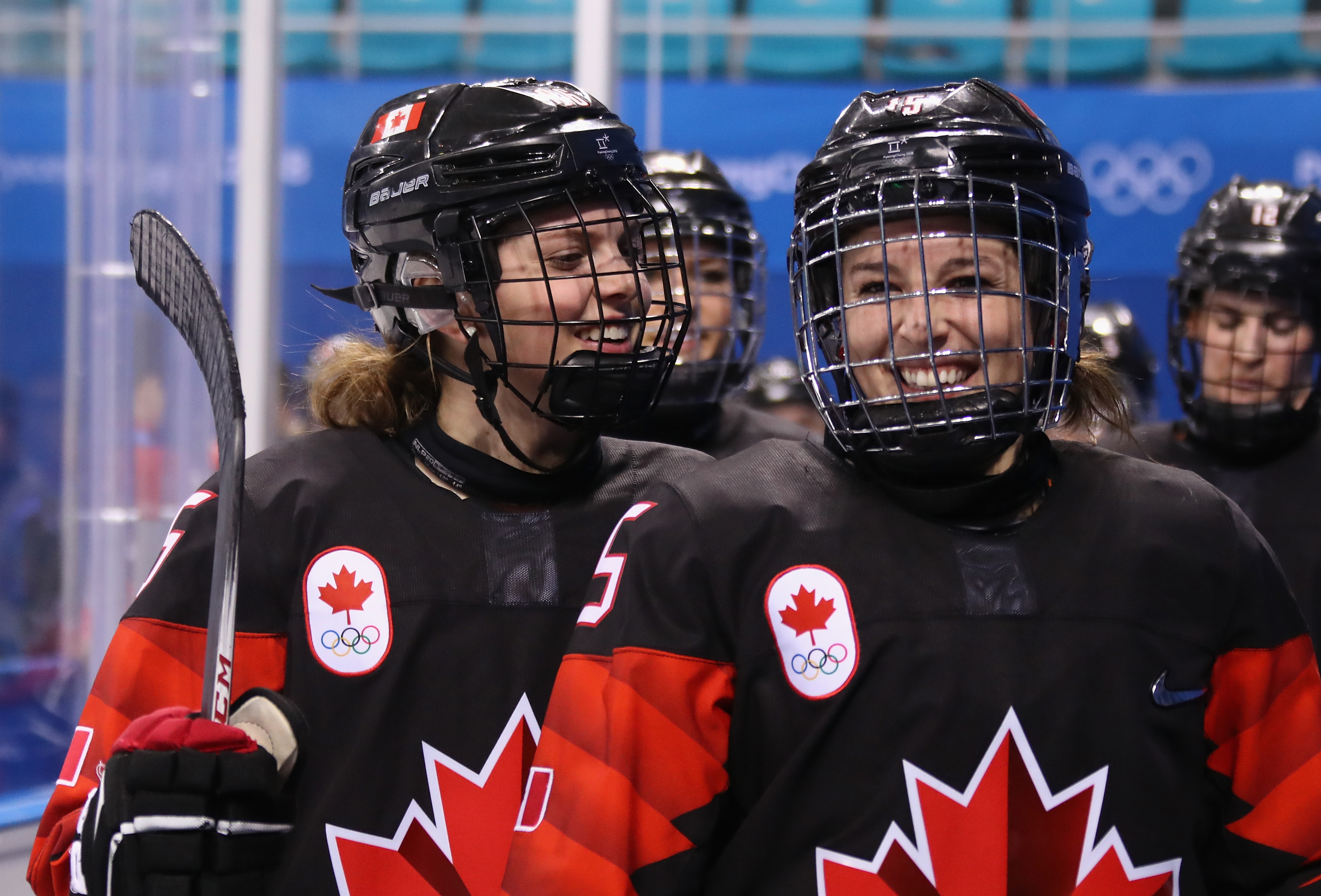 Emily Clark #26 and Melodie Daoust #15 of Canada r