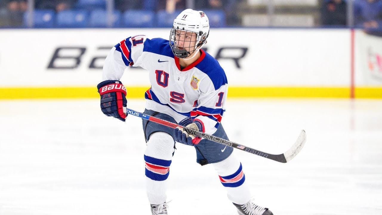 Trevor Zegras skates in action for Team USA at the U18 Five Nations 2019
