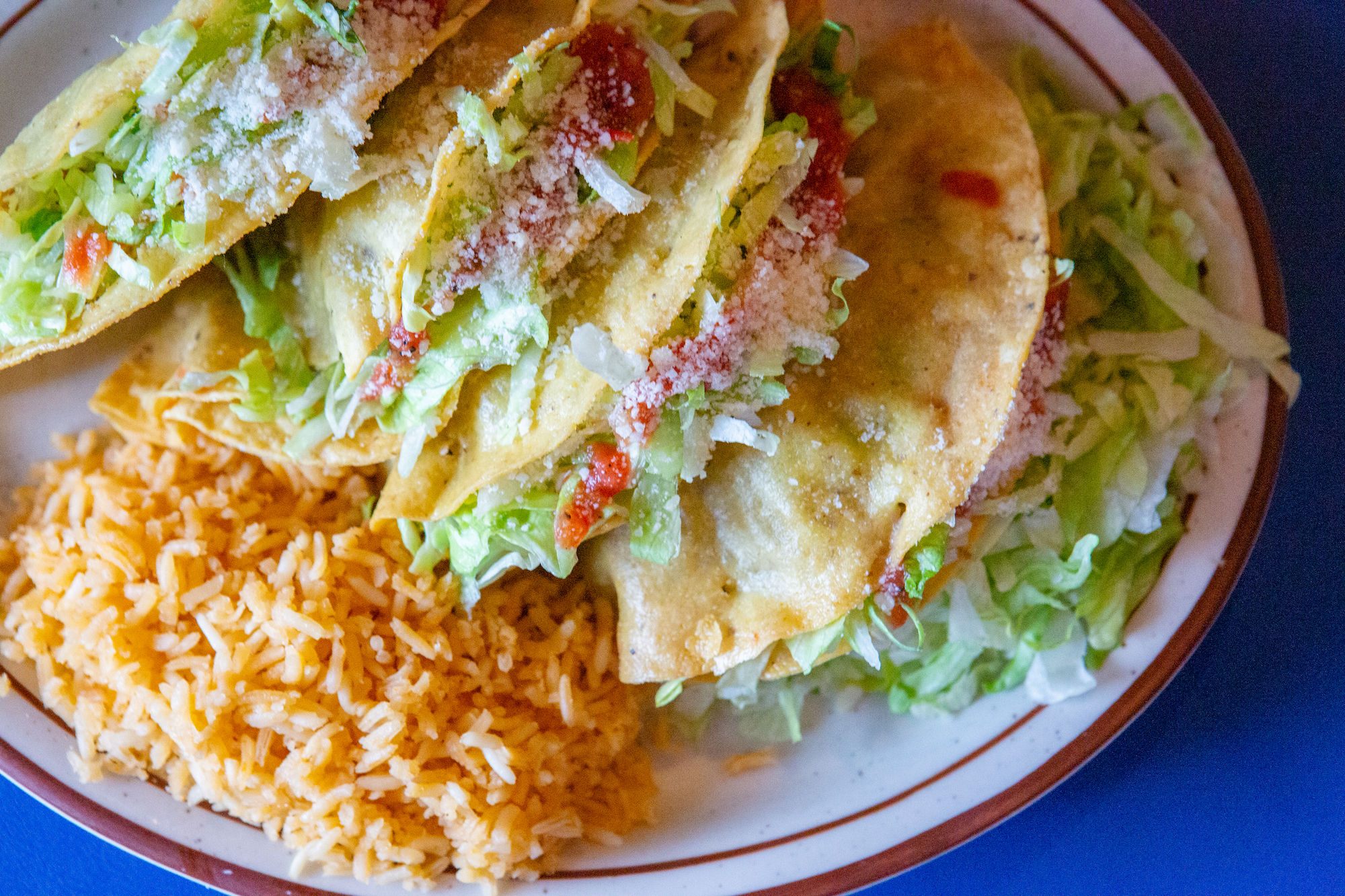 A plate of Kansas City-style tacos from Manny's