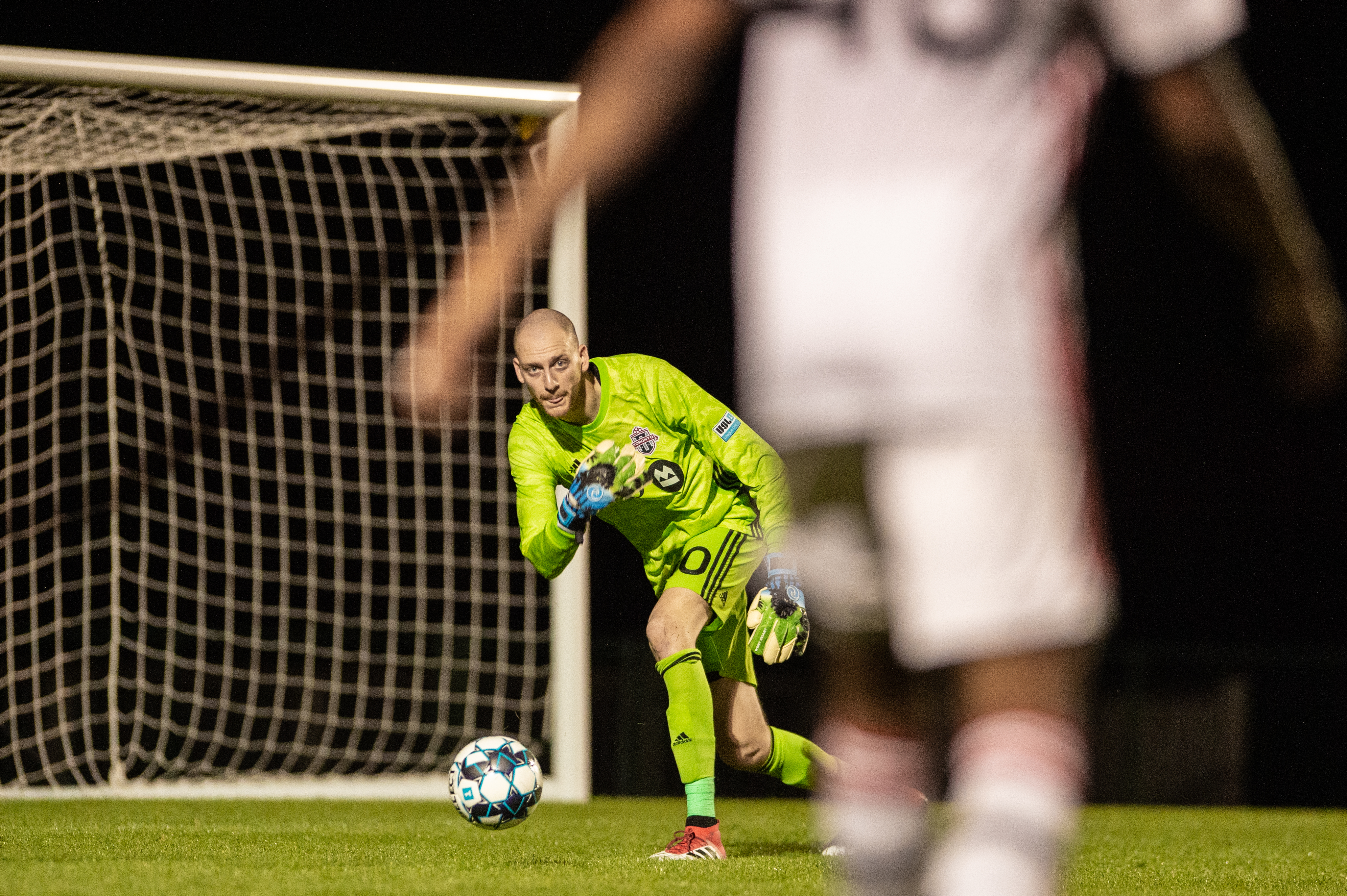 USL League One Photo - Toronto FC II goalkeeper Eric Klenofsky begins a move by rolling a ball out to a teammate in their season-opening 2-0 win over Orlando City B on Friday night