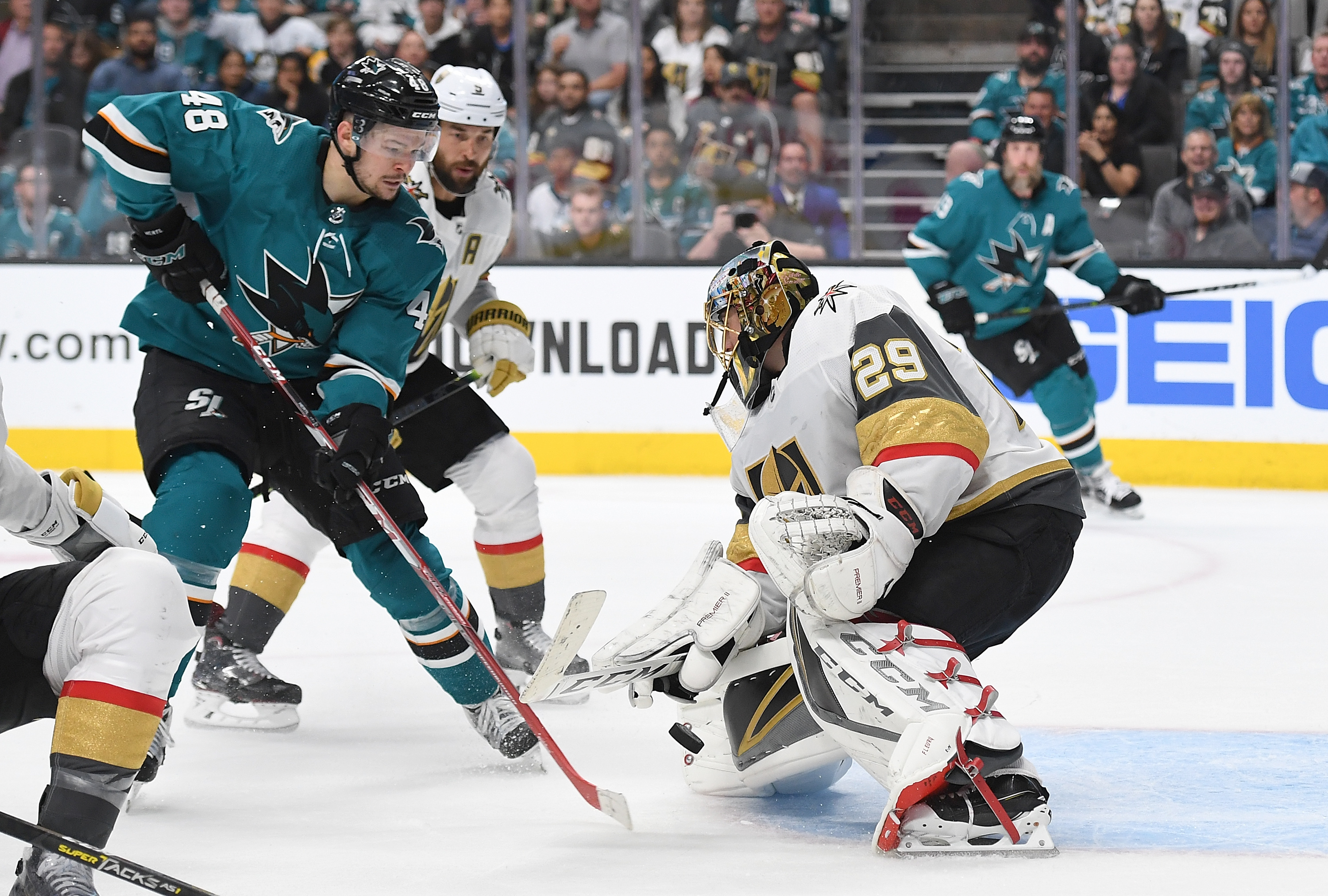 Goalie Marc-Andre Fleury #29 of the Vegas Golden Knights defends his goal agains the shot of Tomas Hertl #48 of the San Jose Sharks during the second period in Game Two of the Western Conference First Round during the 2019 NHL Stanley Cup Playoffs at SAP