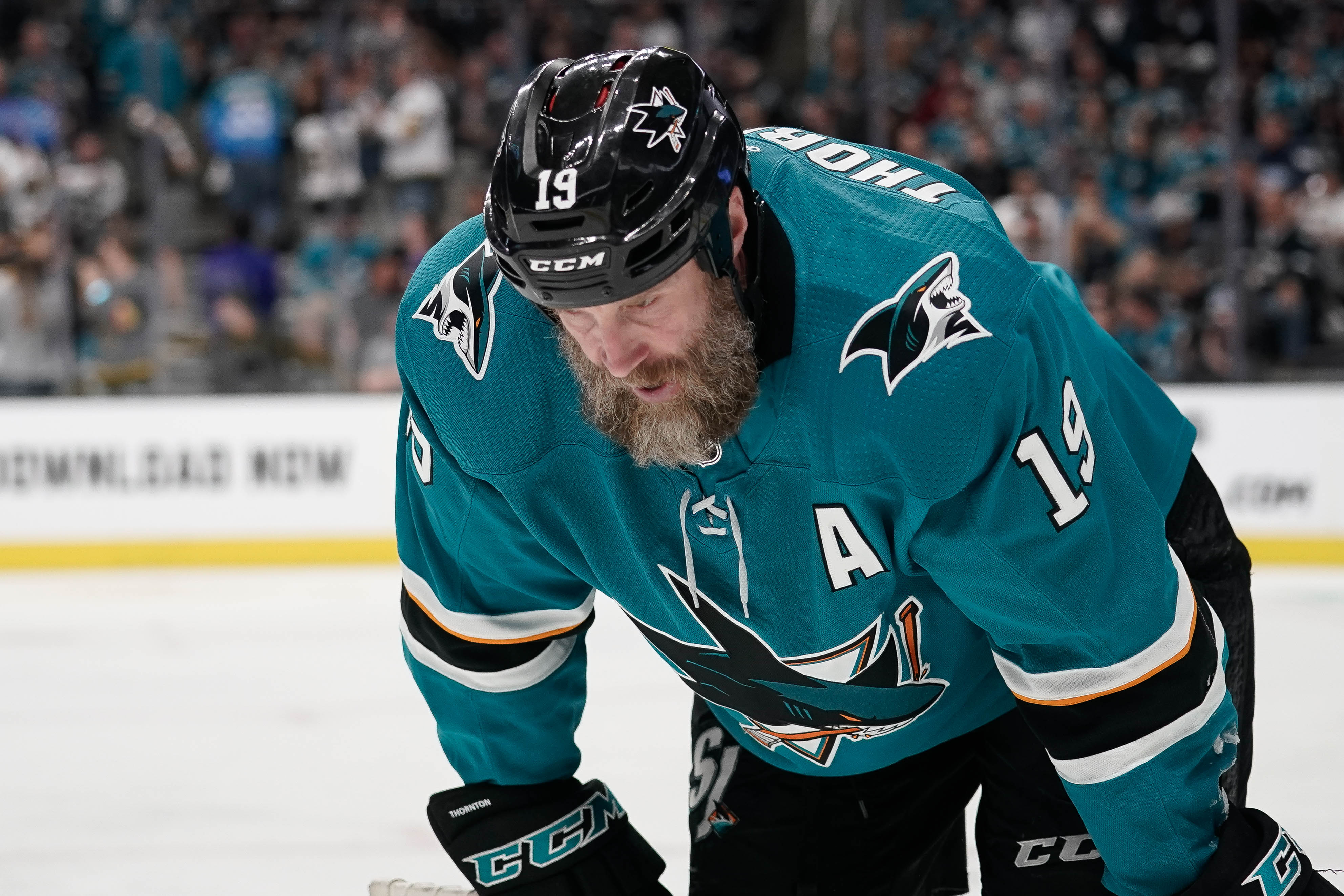 San Jose Sharks center Joe Thornton (19) reacts against the Vegas Golden Knights during the third period in game two of the first round of the 2019 Stanley Cup Playoffs at SAP Center at San Jose.