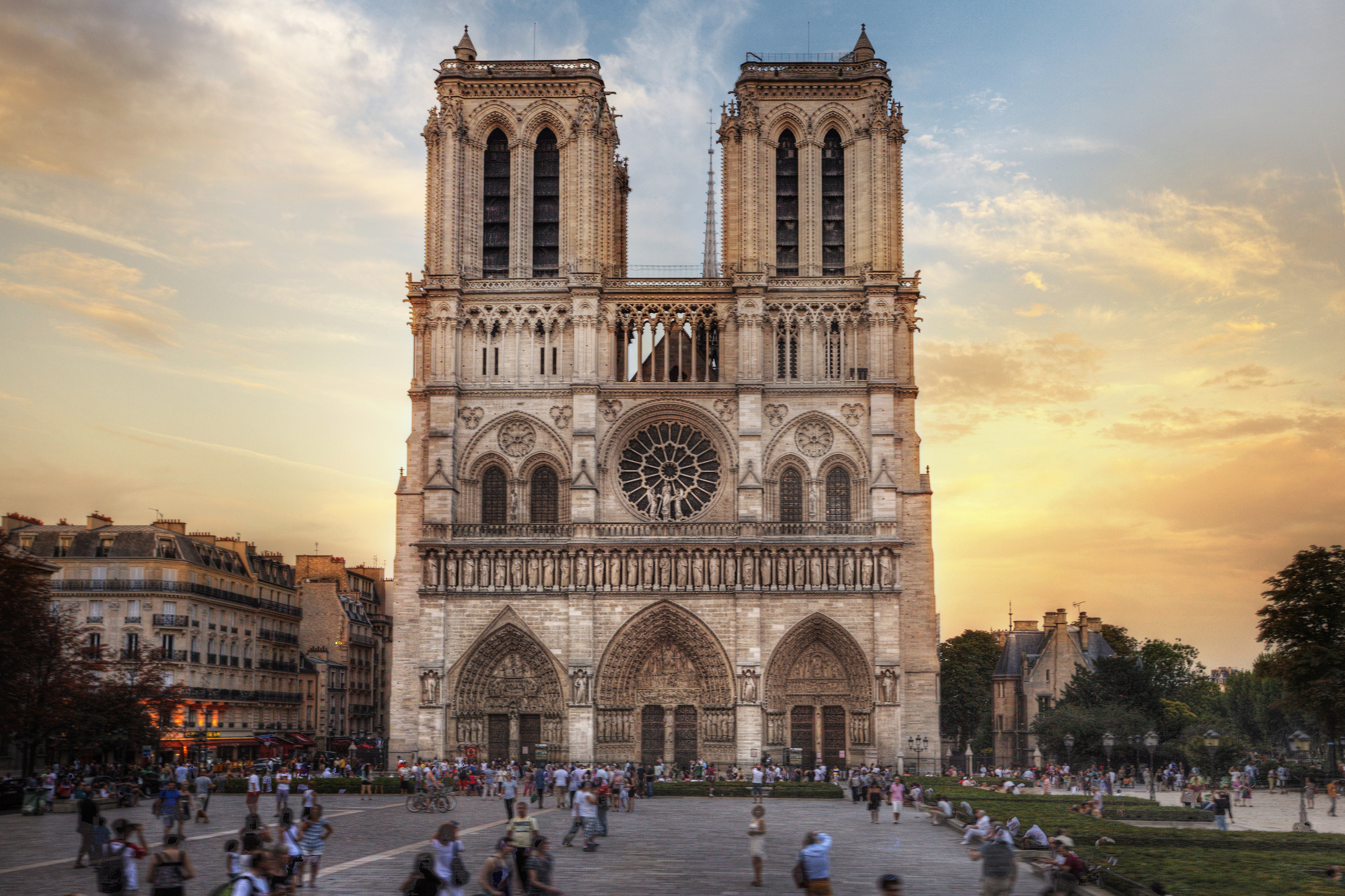 Notre Dame Cathedral before the April 15, 2019 fire that destroyed its spire and much of its roof.