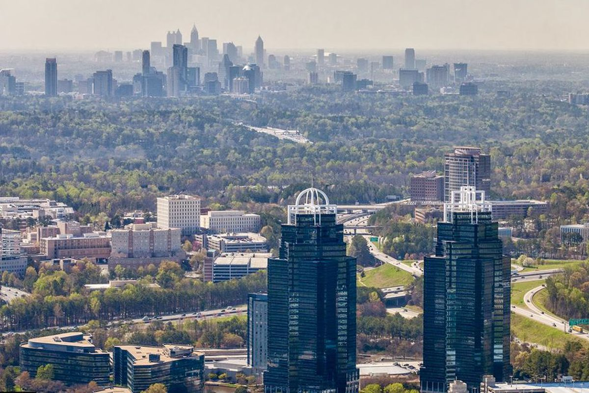 An aerial of Sandy Springs near Ga. Highway 400, with Buckhead in the middle distance.